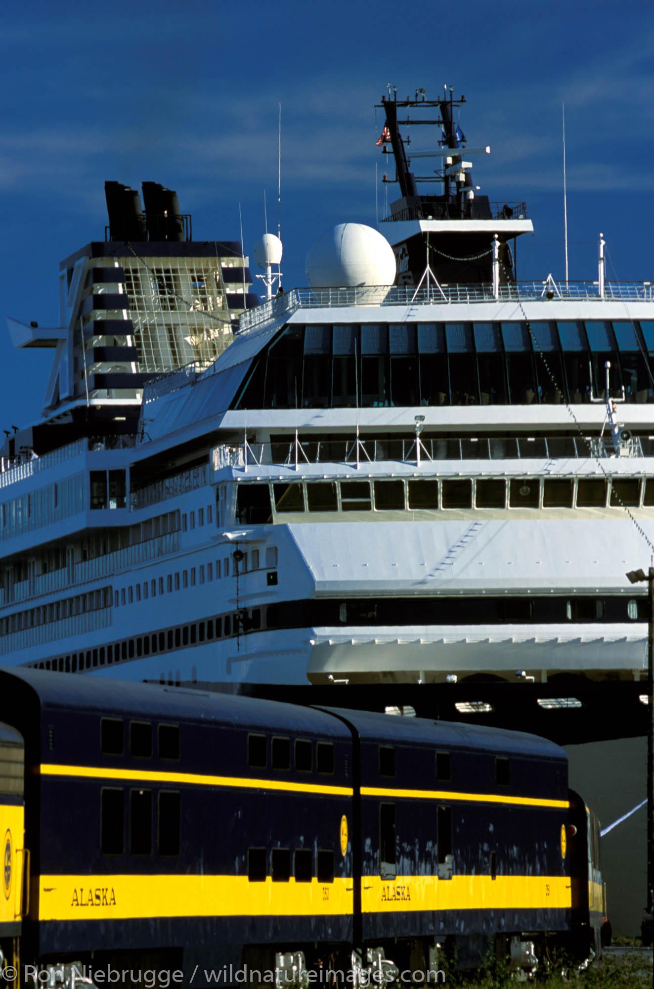 Alaska Railroad with Mercury Celebrity Cruise Ship.  Alaska.