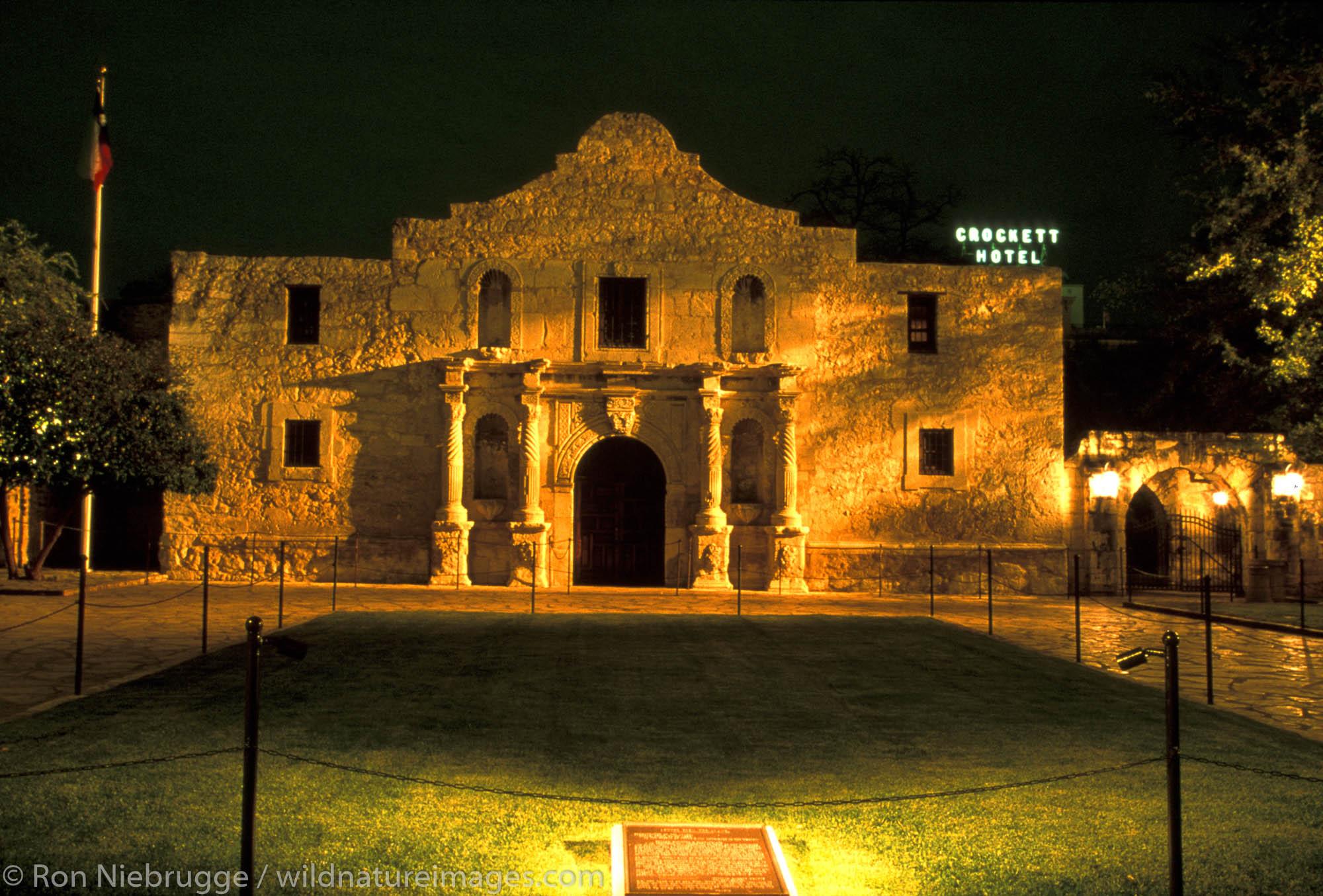 The Alamo at night.  San Antonio, Texas.