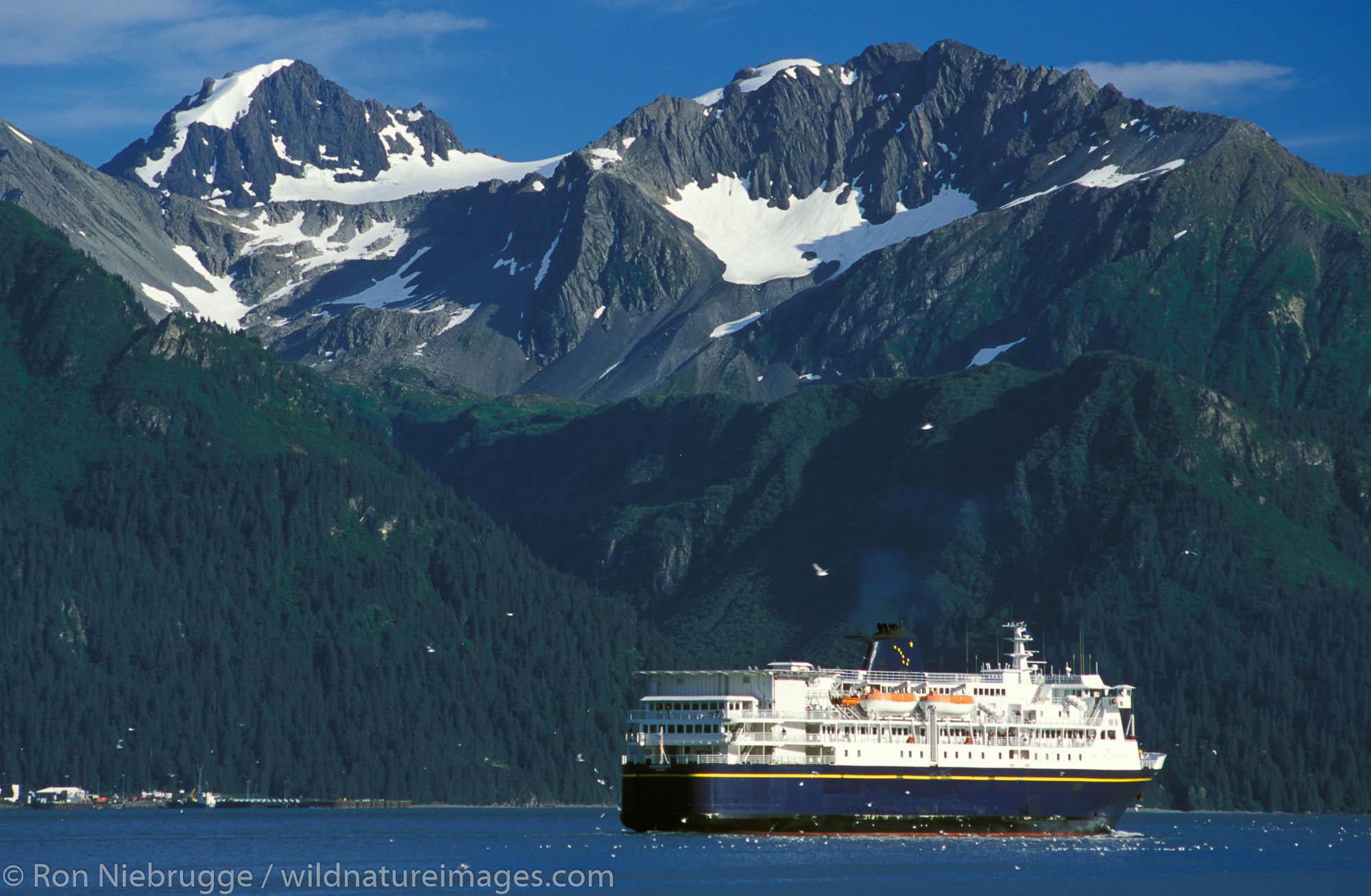 The Alaska State Ferry vessel Kennicott leaves Seward, Resurrection Bay, Alaska.