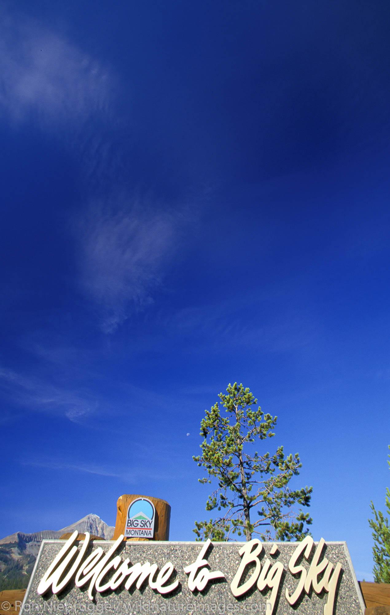 Welcome to Big Sky sign.  Big Sky, Montana.