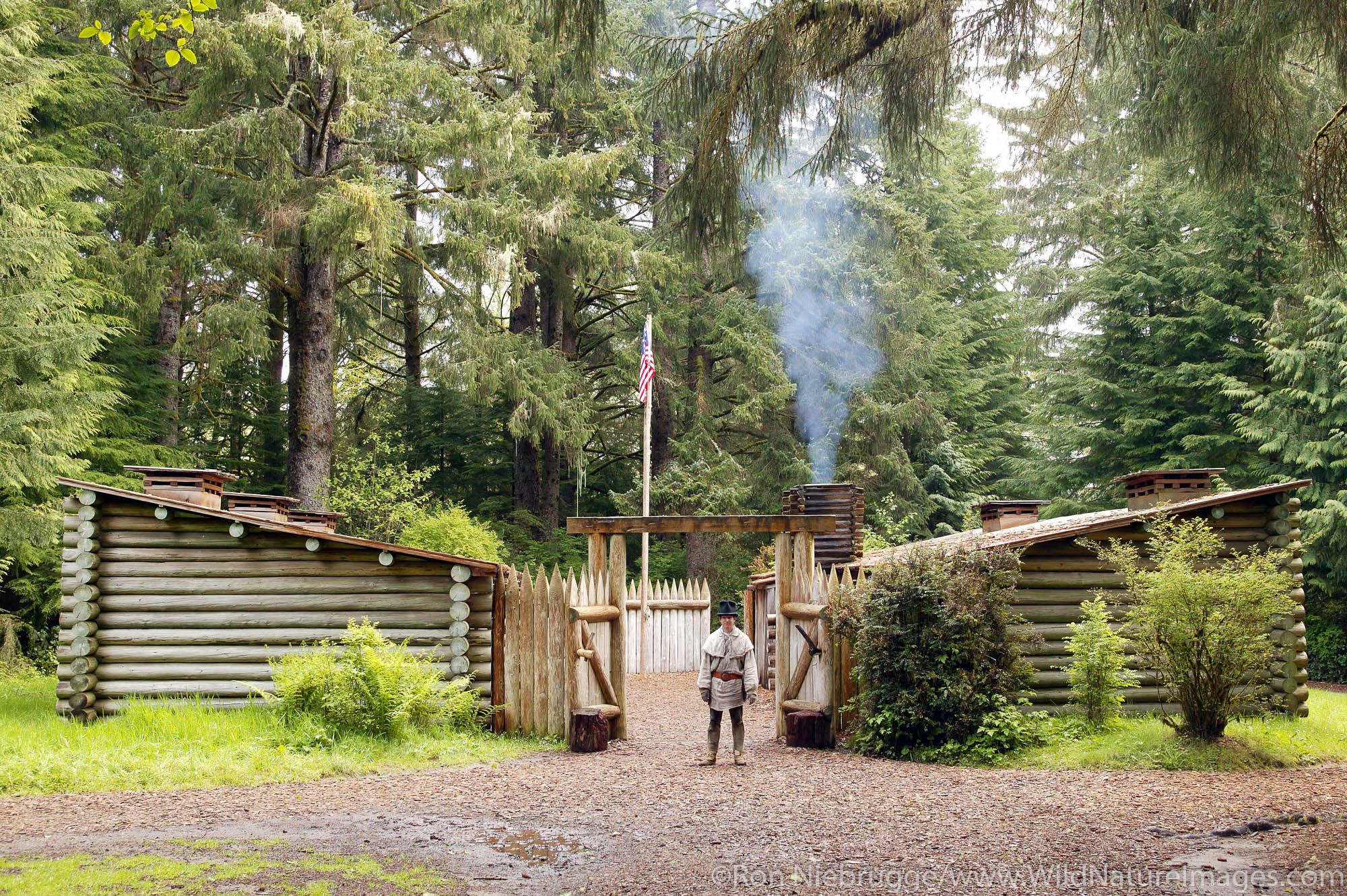 Park Ranger at entrance of Fort Clatsop National Memorial, Oregon