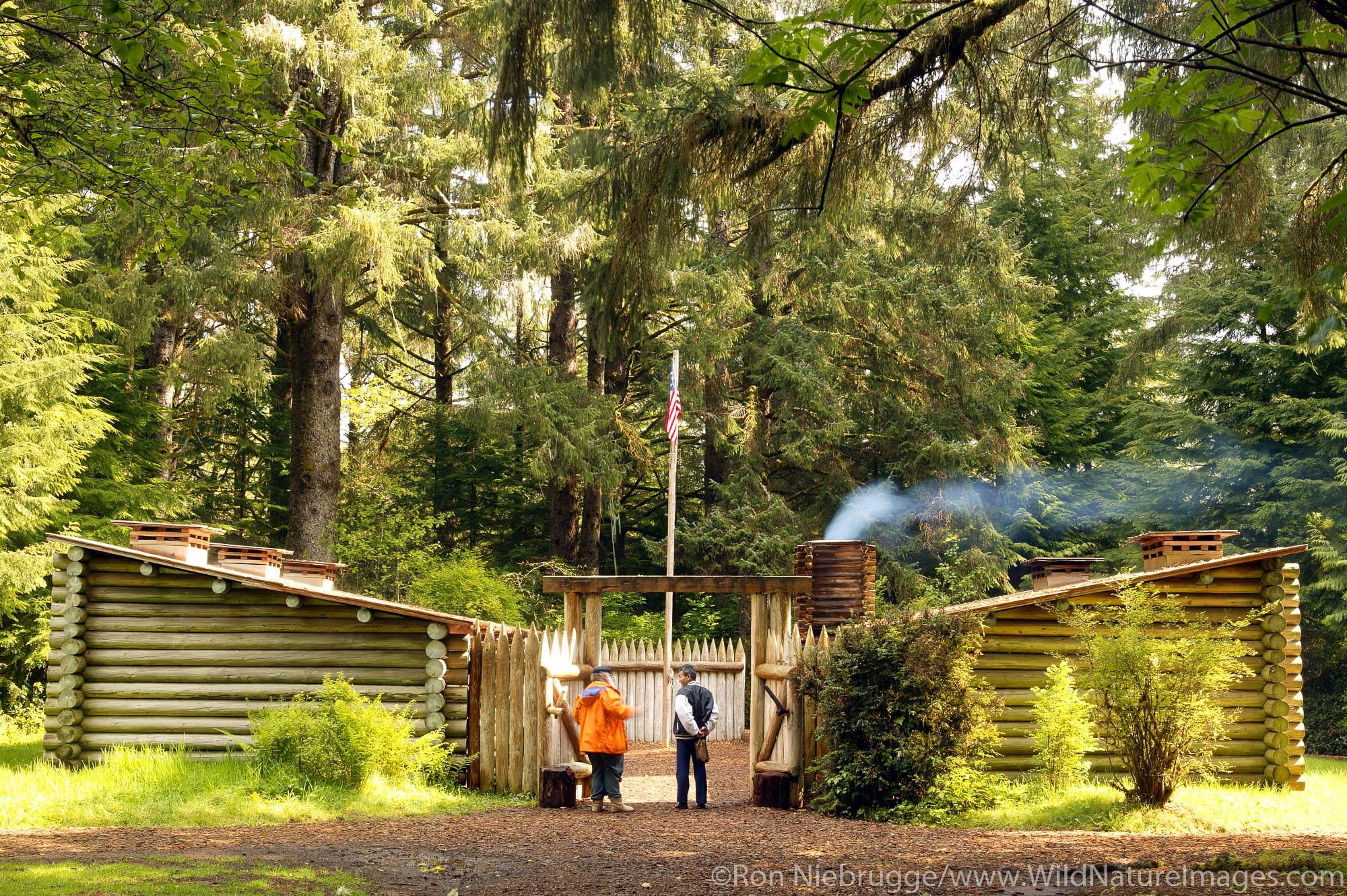 Visitors at Fort Clatsop National Memorial, near Astoria, Oregon.