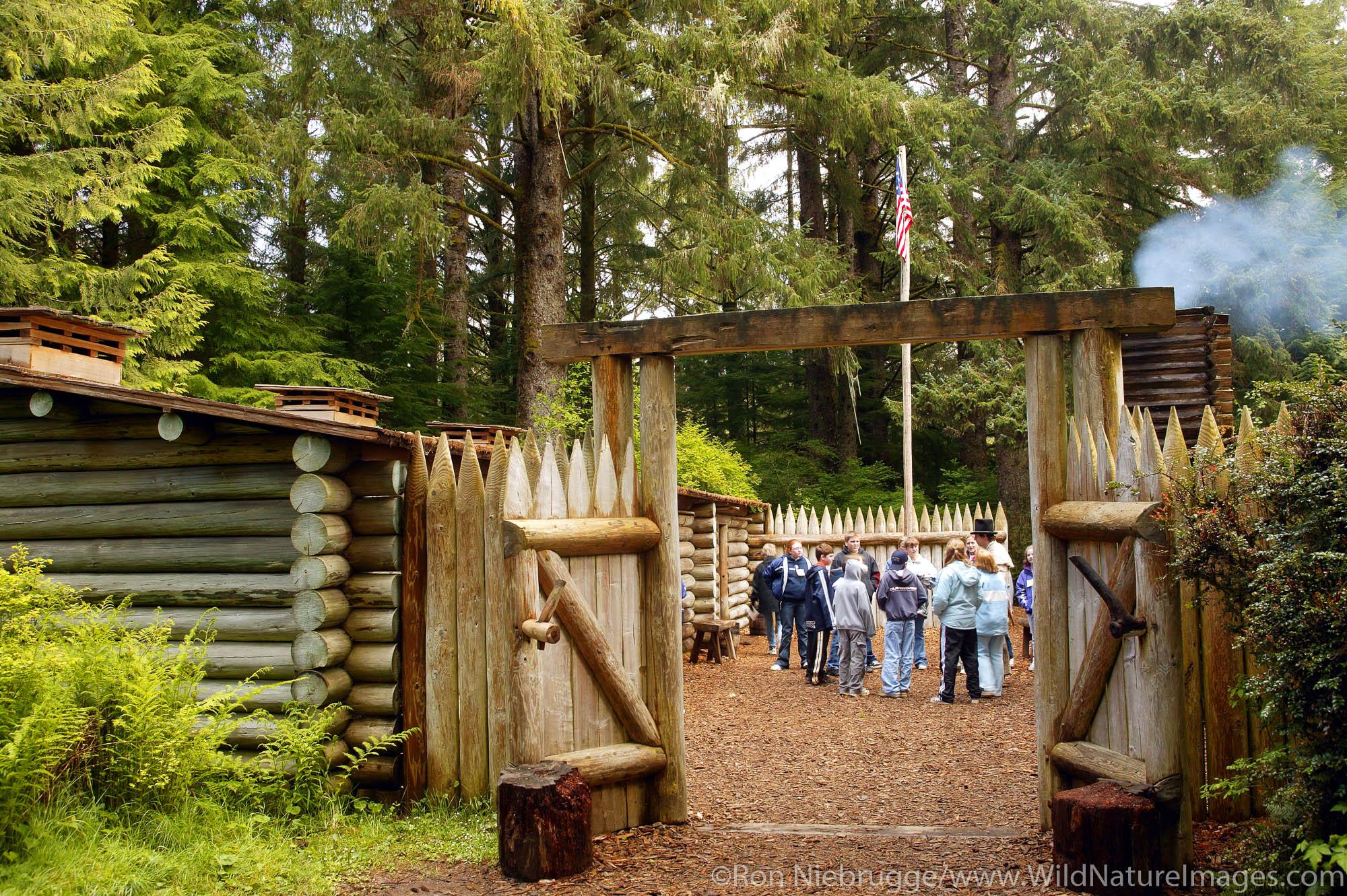 School Group visits Fort Clatsop National Memorial, near Astoria, Oregon.