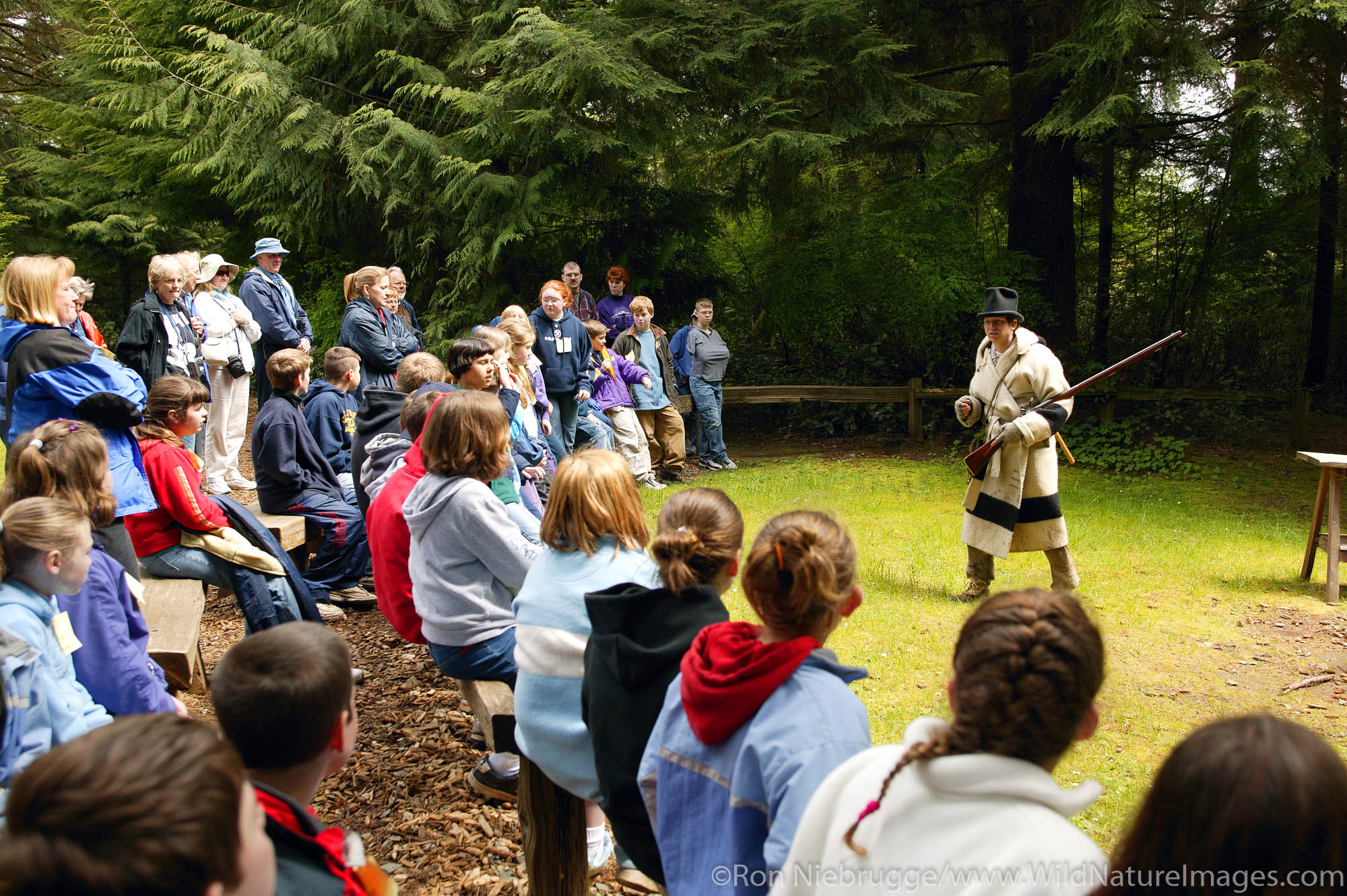 Musketloading rifle demonstration for school children, Fort Clatsop National Memorial, near Astoria, Oregon.