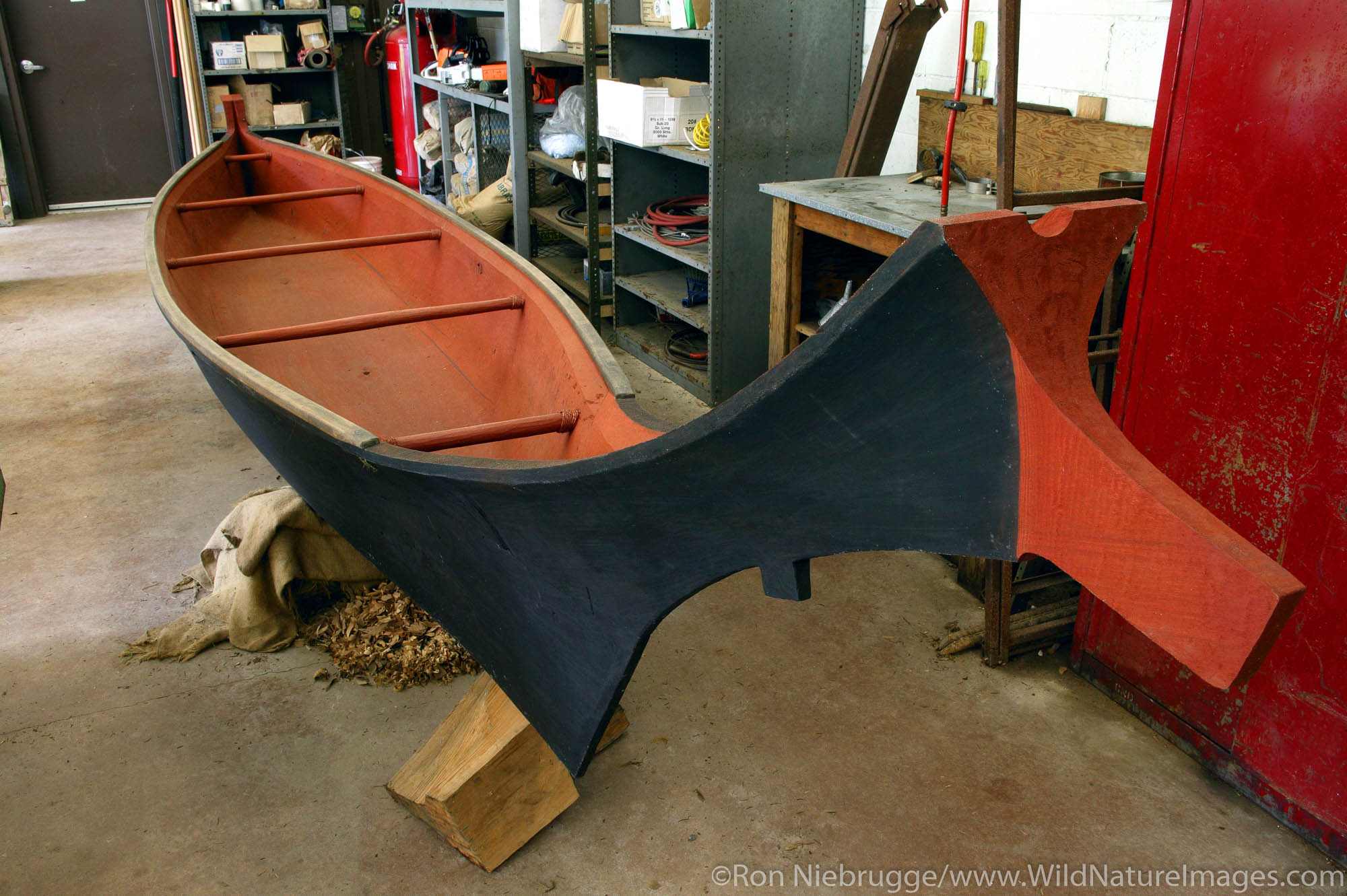 Canoe carved by local native at Fort Clatsop National Memorial, Astoria, Oregon.