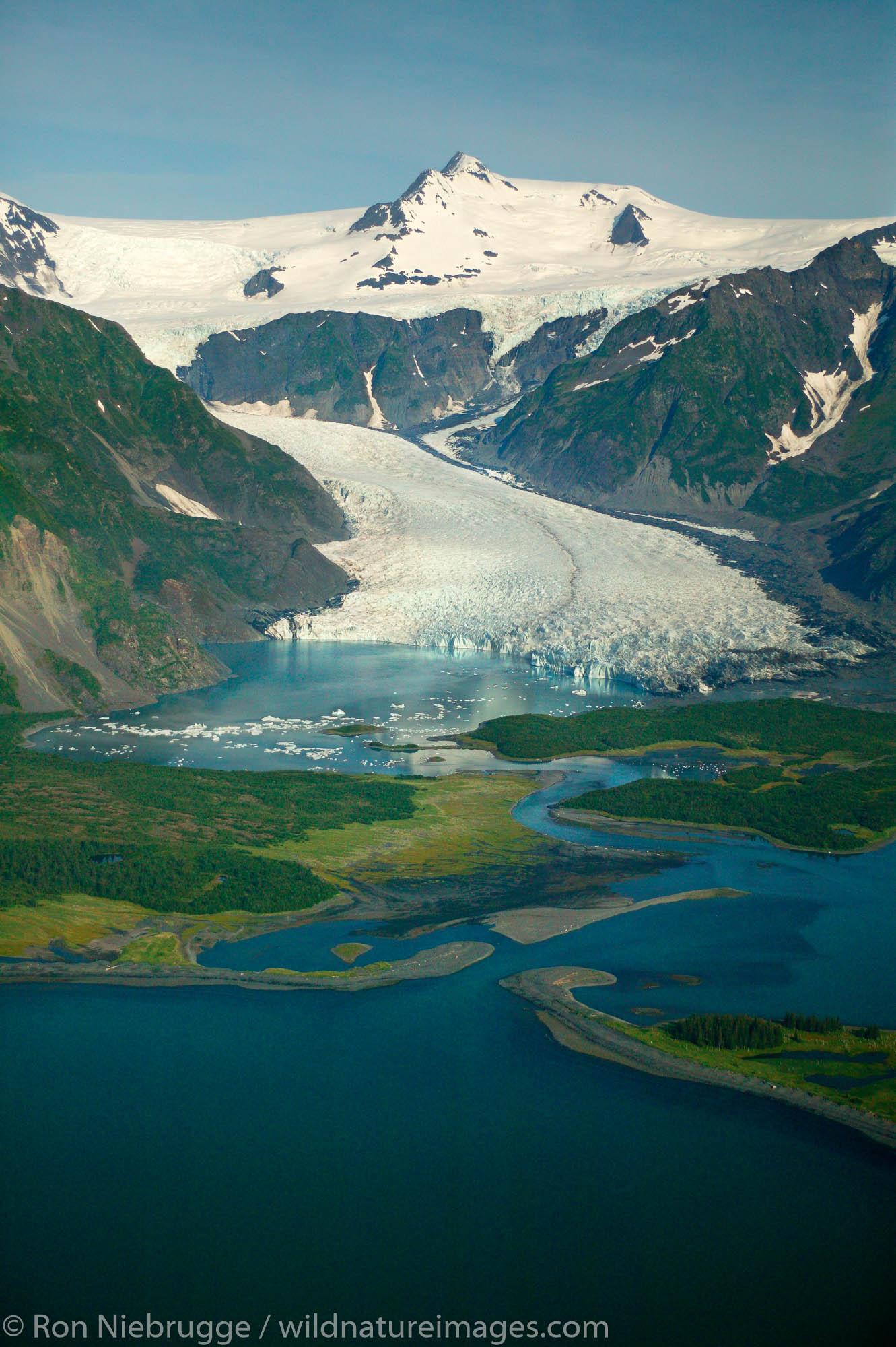 Pederson Glacier and Lagoon, Aialik Bay, Kenai Fjords National Park, aerial photo of the Kenai Peninsula, Alaska