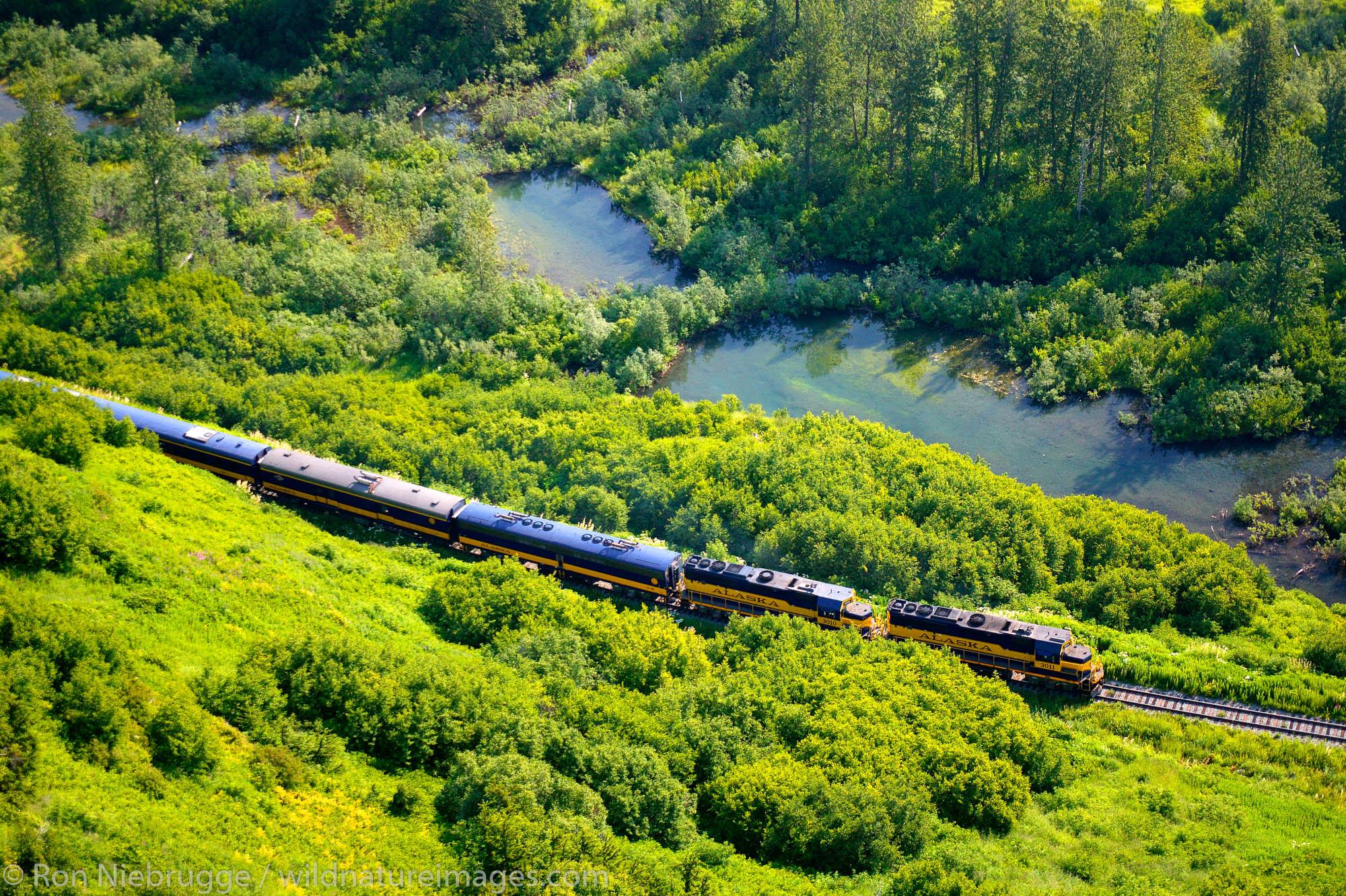 Aerial view of Alaska Railroad Passenger Train enroute to Seward near Spencer Glacier.  Alaska.