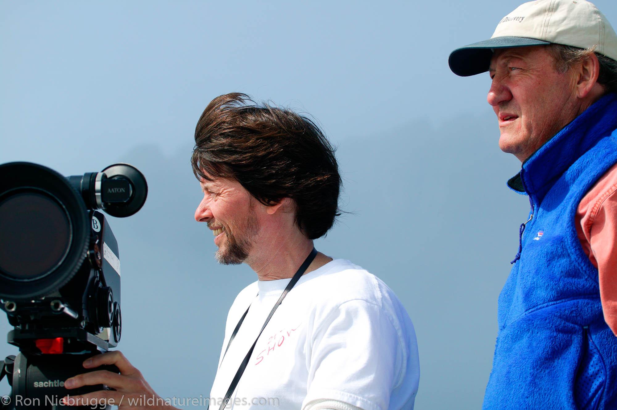 Dayton Duncan, and Ken Burns filming in Aialik Bay, Kenai Fjords National Park, Alaska.
