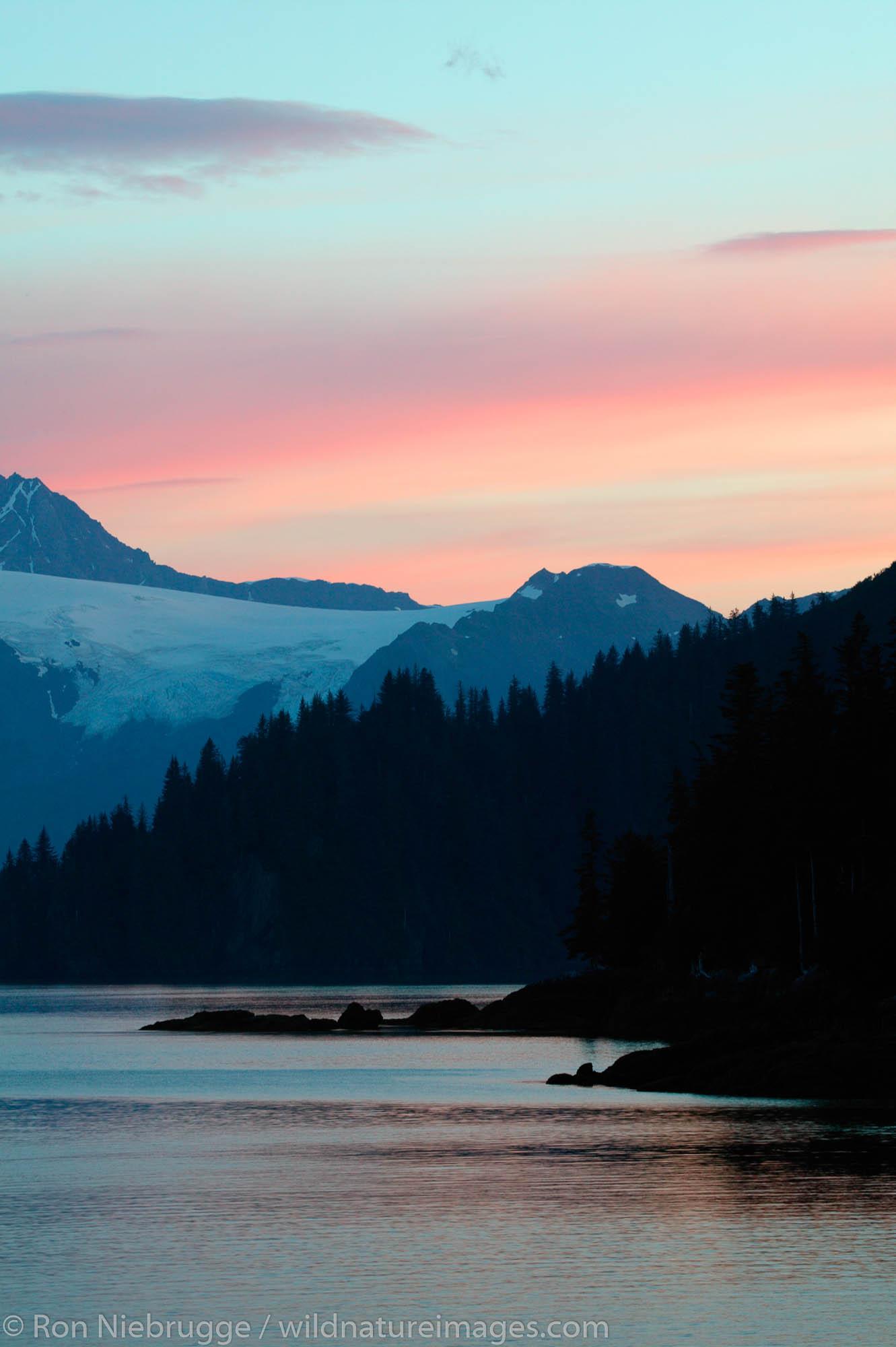 Sunrise in Aialik Bay, Kenai Fjords National Park, Alaska.