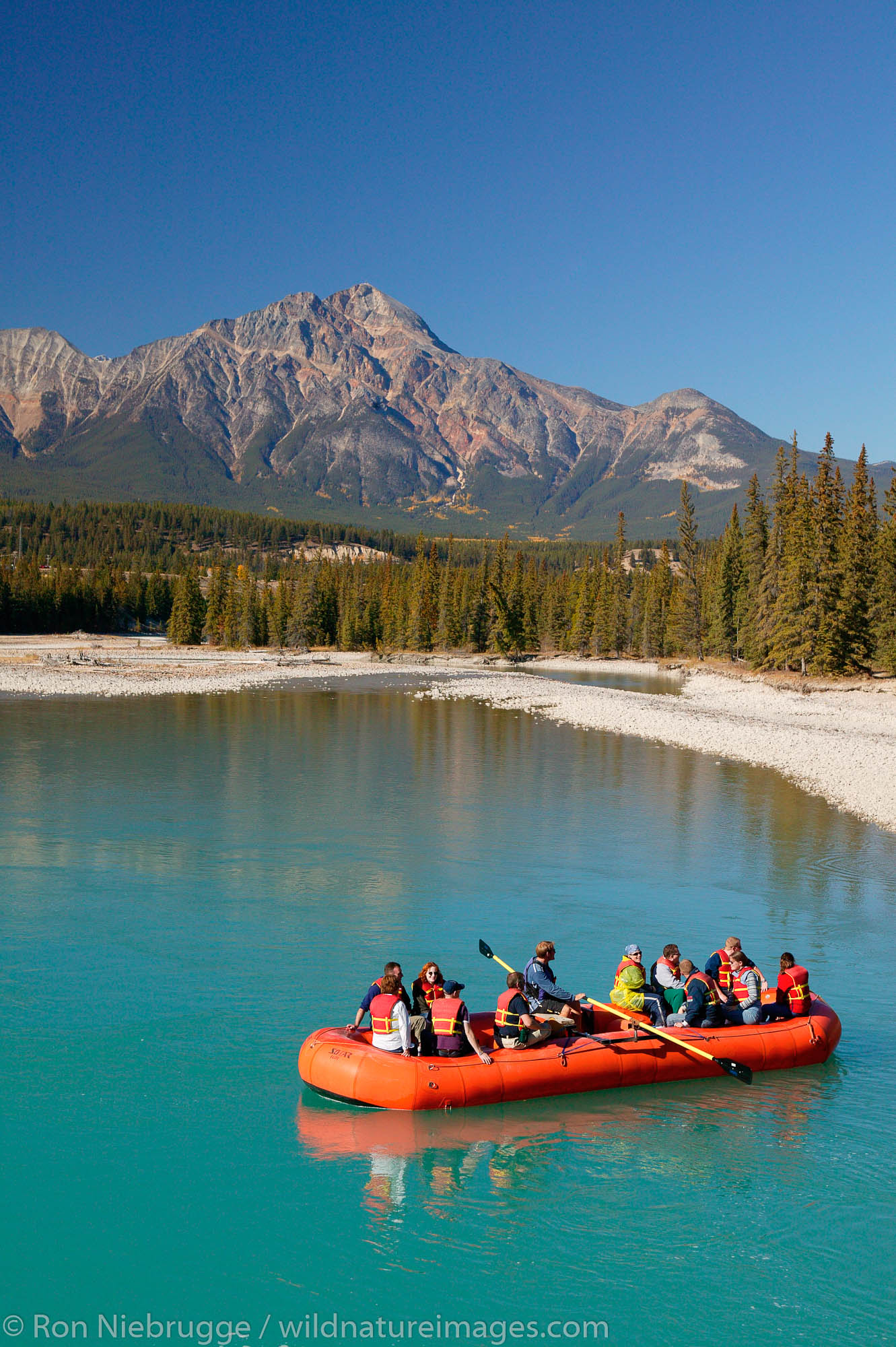 Rafting on the Athabasca River, Jasper National Park, Alberta, Canada.