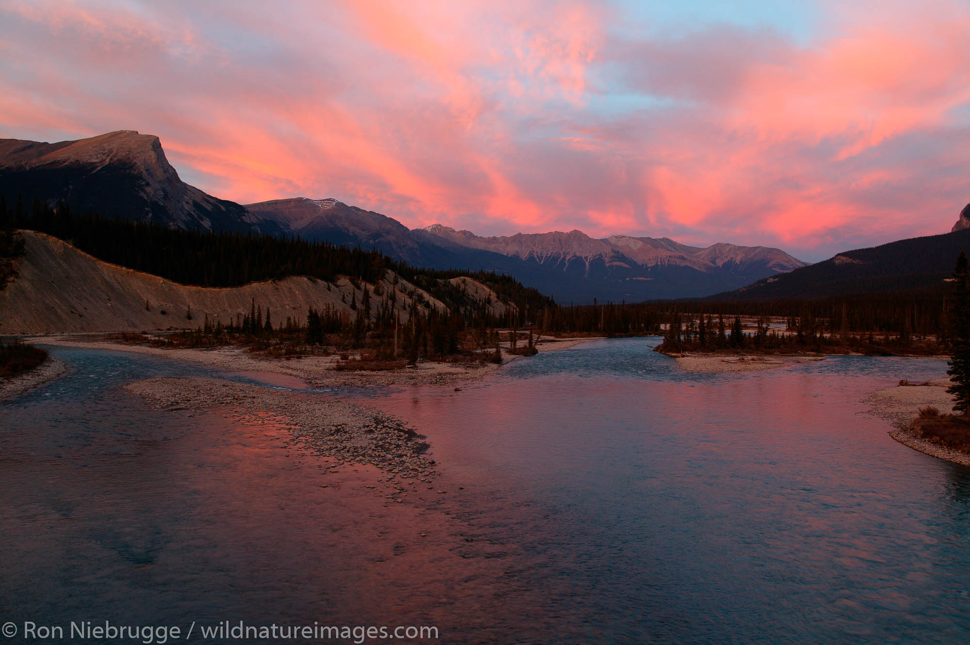 Saskatchewan River at sunset, Banff National Park, Alberta, Canada.