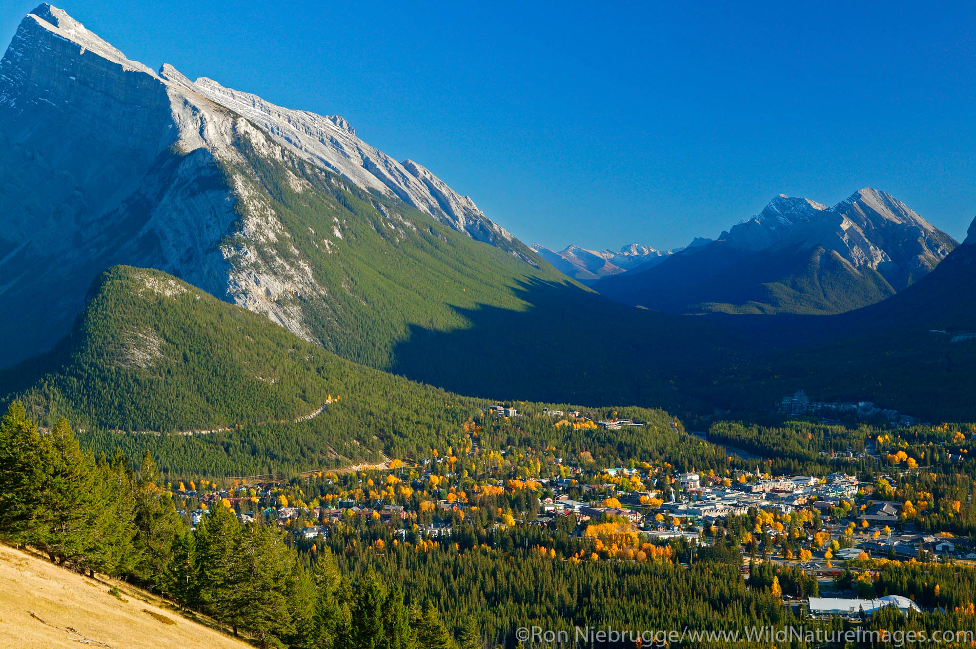 Town of Banff as viewed from Mount Norquay Road, Banff National Park, Alberta, Canada.