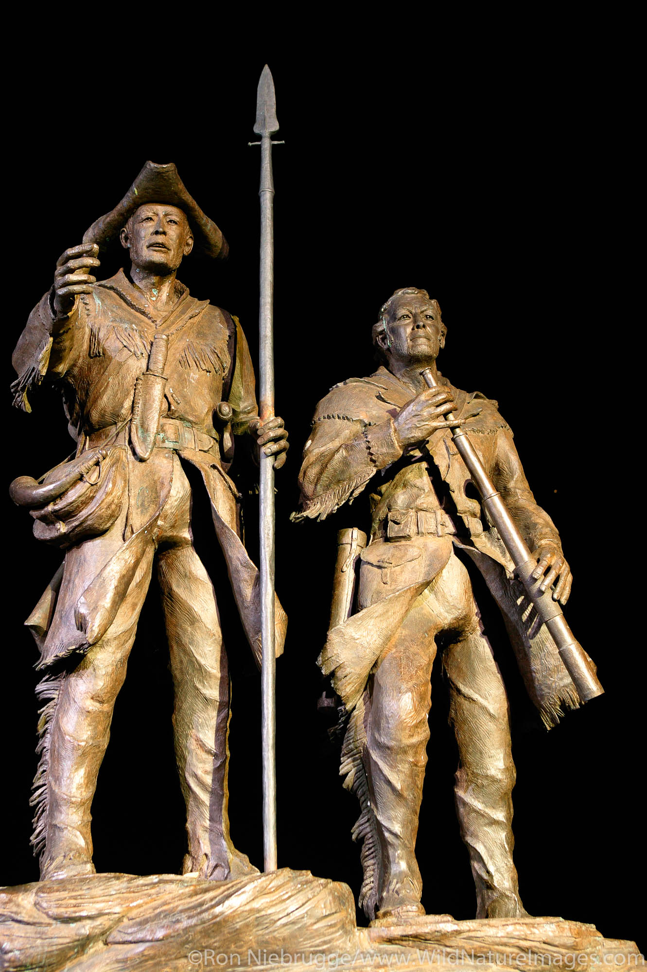 """This Lewis and Clark sculpture """"Explorers at the Portage"""" by Robert M. Scrivor has both Captains, York and Lewis's dog Seaman..."""