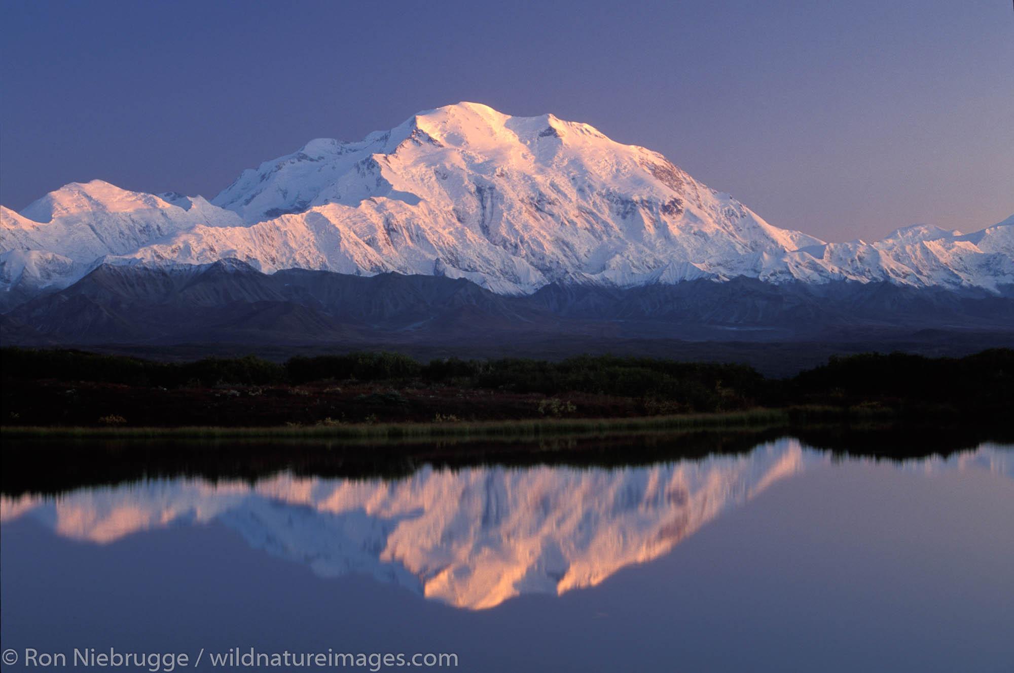 Mt McKinley and Reflection Pond, Denali National Park, Alaska.