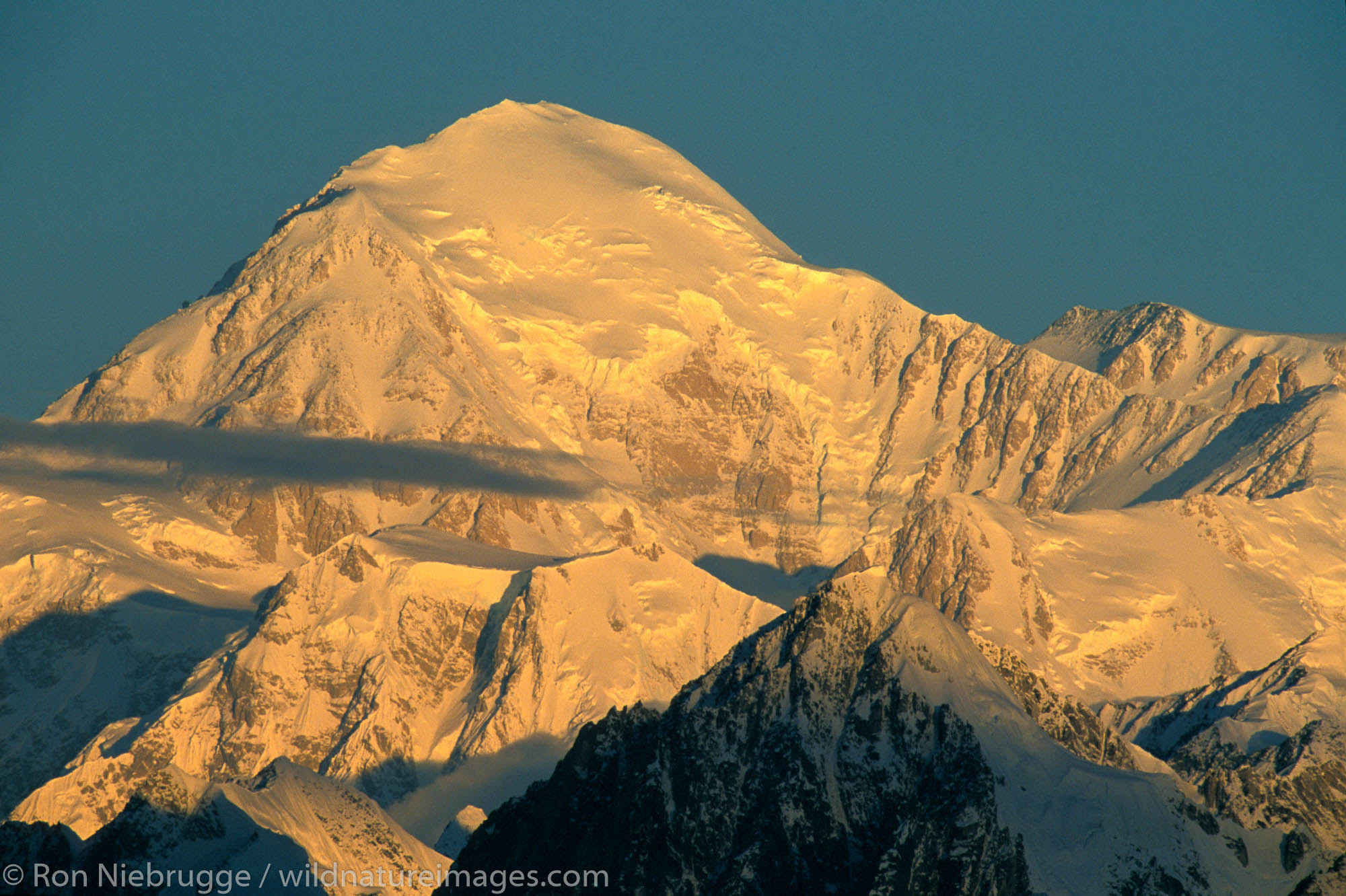 The south face of Mt McKinley and Denali National Park from the Parks Highway, Alaska.