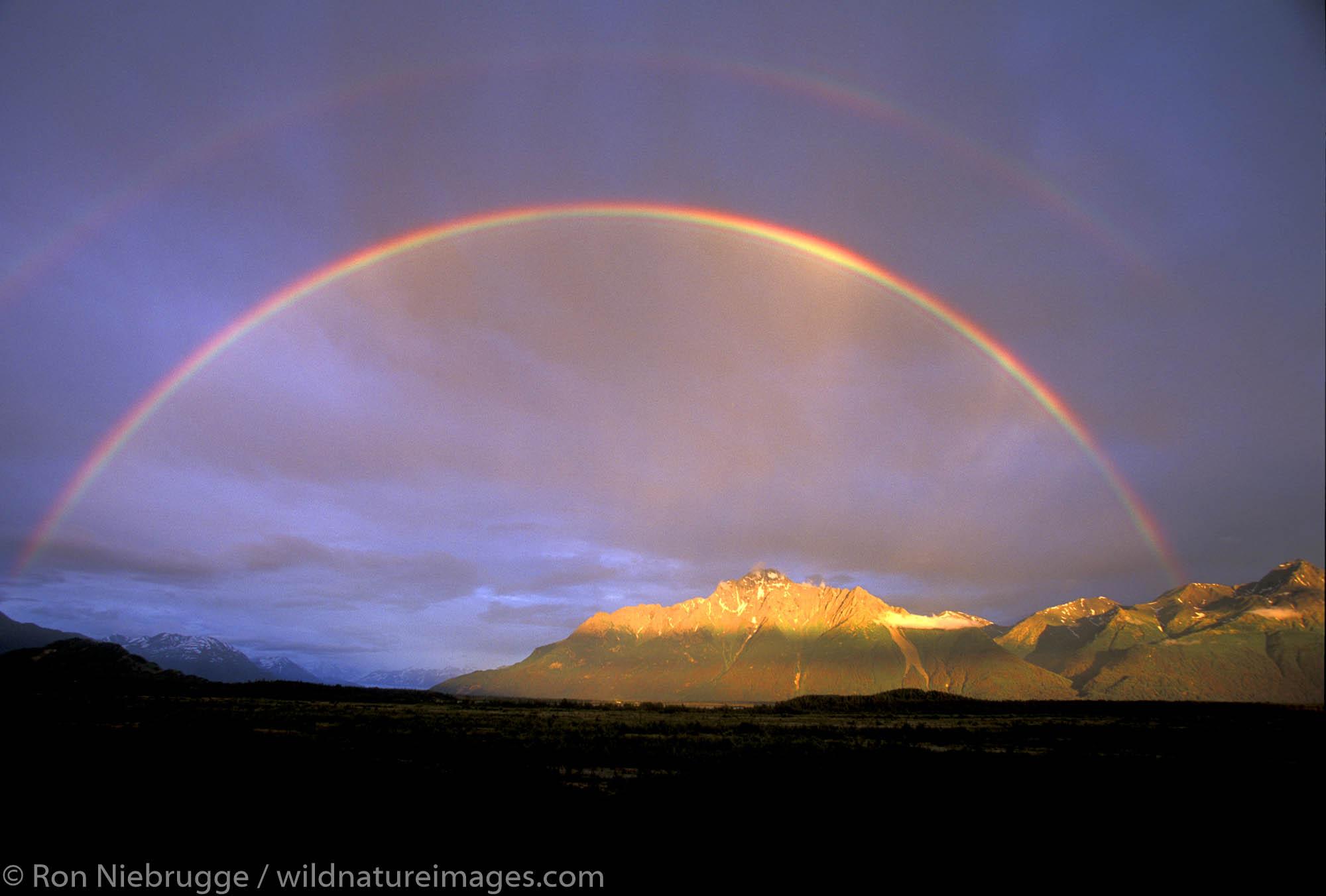 Rainbow over Pioneer Peak.  Matanuska Valley, Palmer, Alaska.