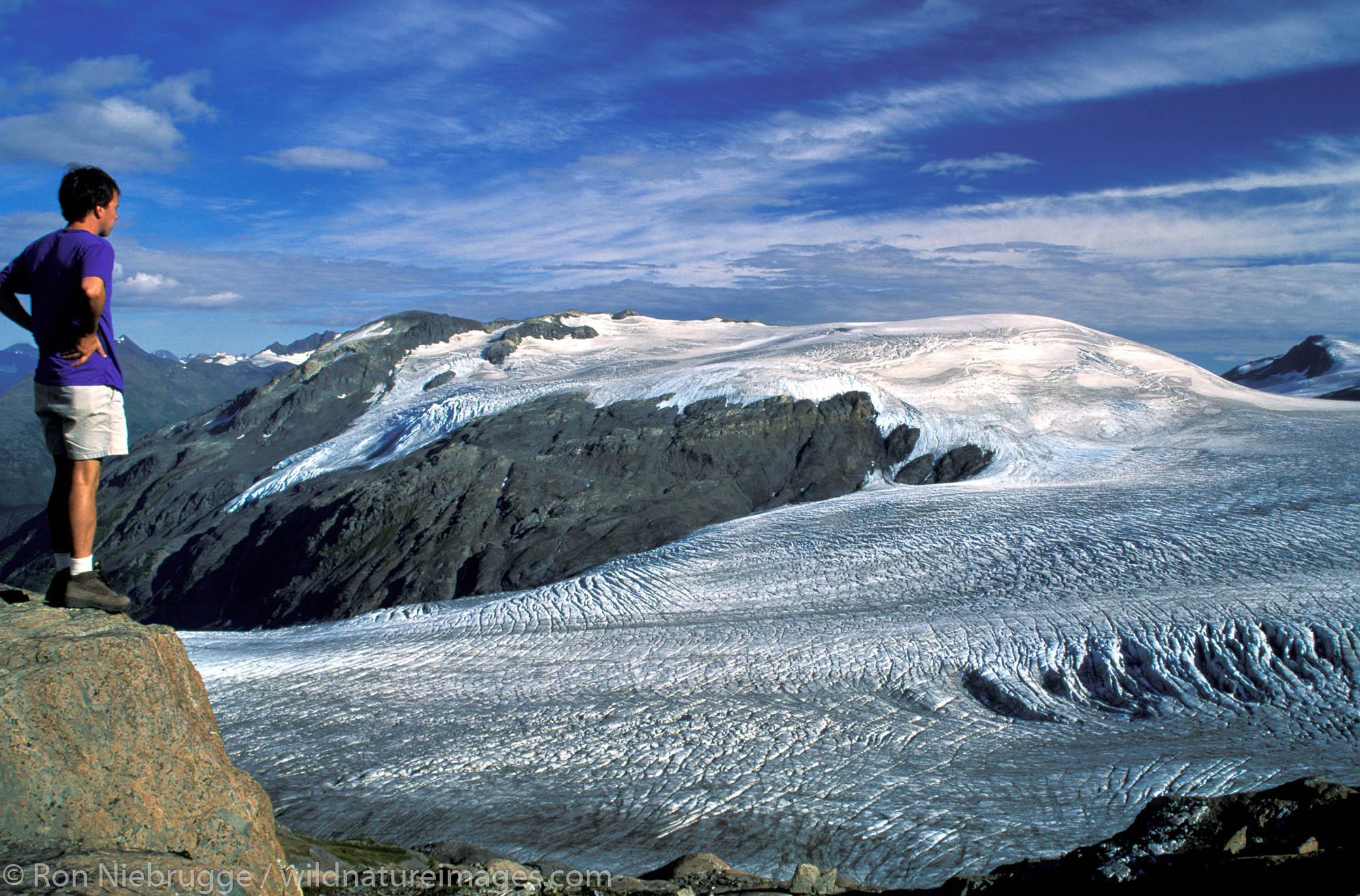 Hiker views Harding Icefield.  Kenai Fjords National Park, Alaska.  MR