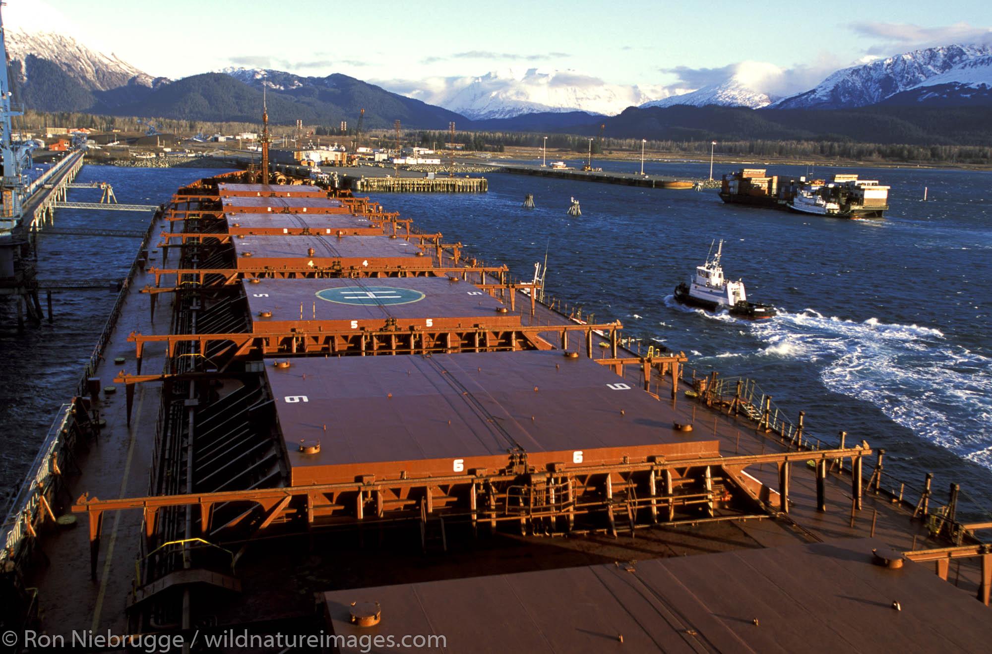 Coal Ship Hyundai docking in Seward.  Resurrection Bay, Seward, Alaska.