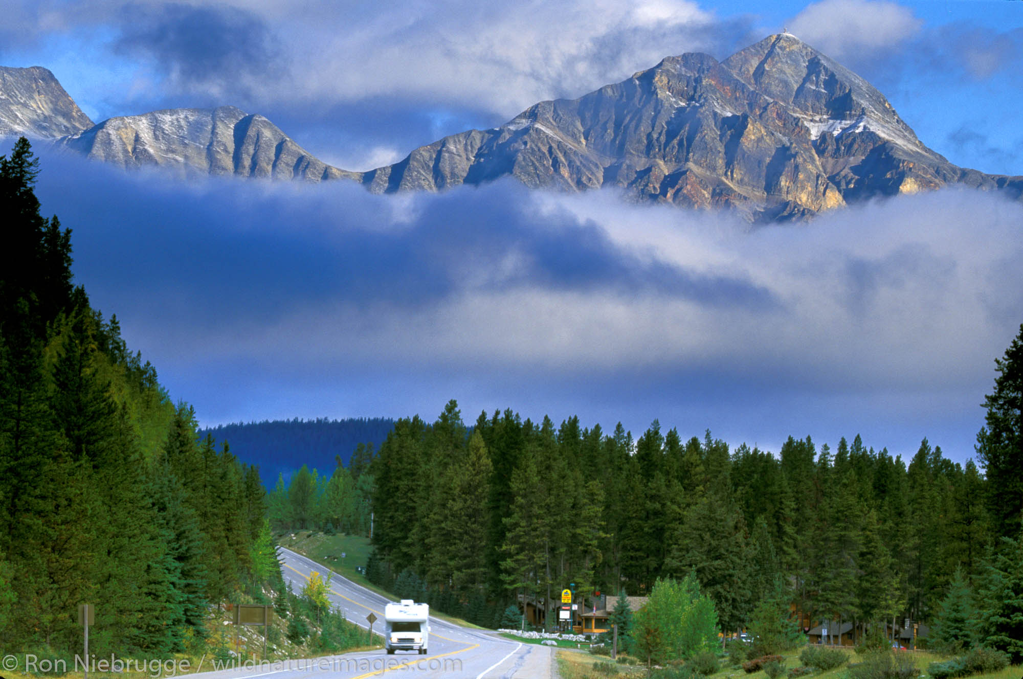 A RV on the Icefields Highway just outside of Jasper, Jasper National Park, Alberta, Canada.