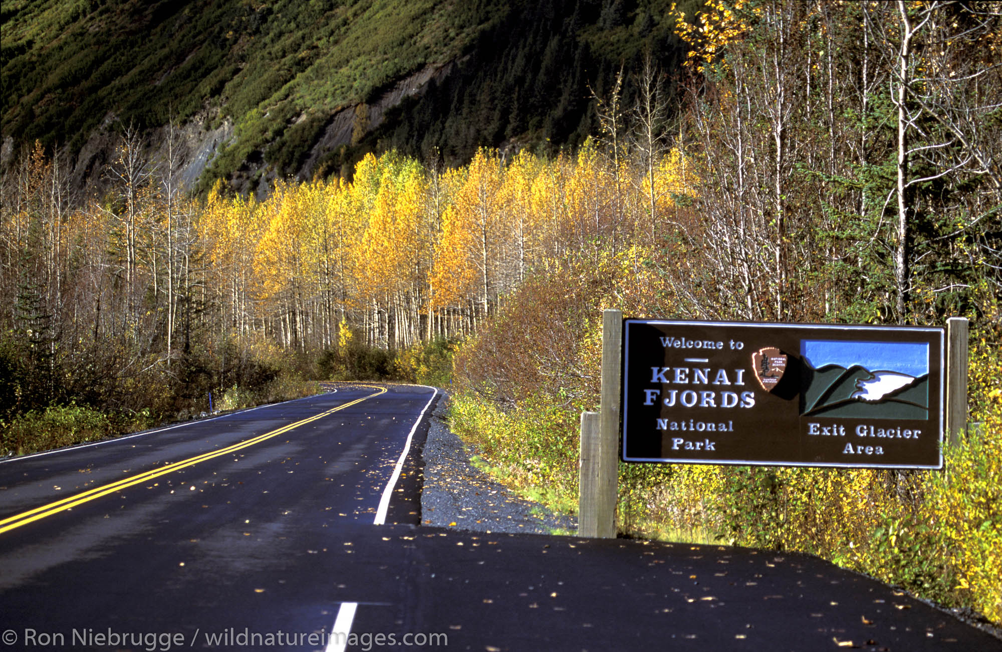 Kenai Fjords National Park Welcome Sign.  Kenai Fjords National Park, Alaska.