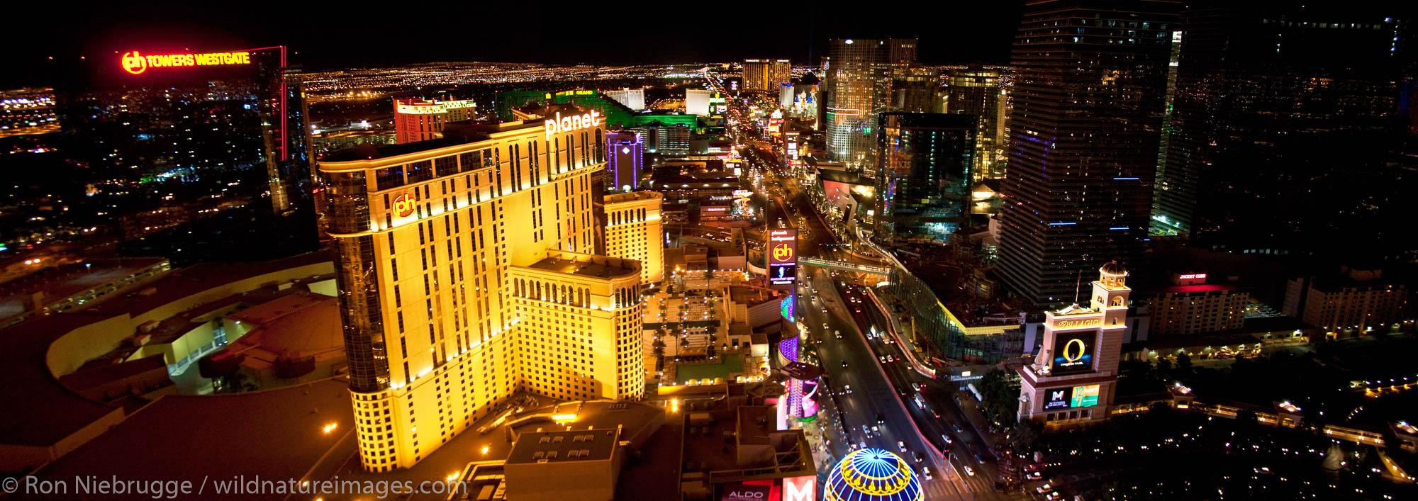 Panoramic of Las Vegas Strip at night.  Las Vegas, NV