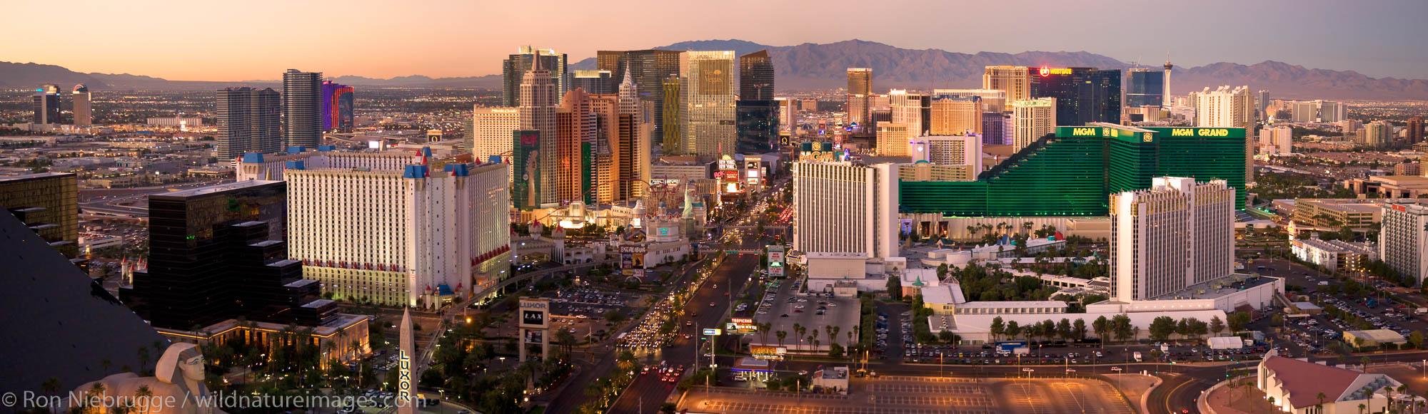 Panoramic aerial view of the Strip, Las Vegas, Nevada.