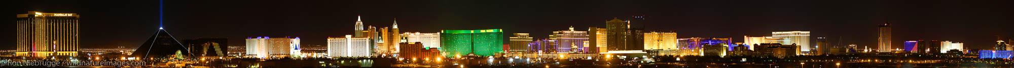 Panoramic of the Las Vegas Strip at night, Nevada.