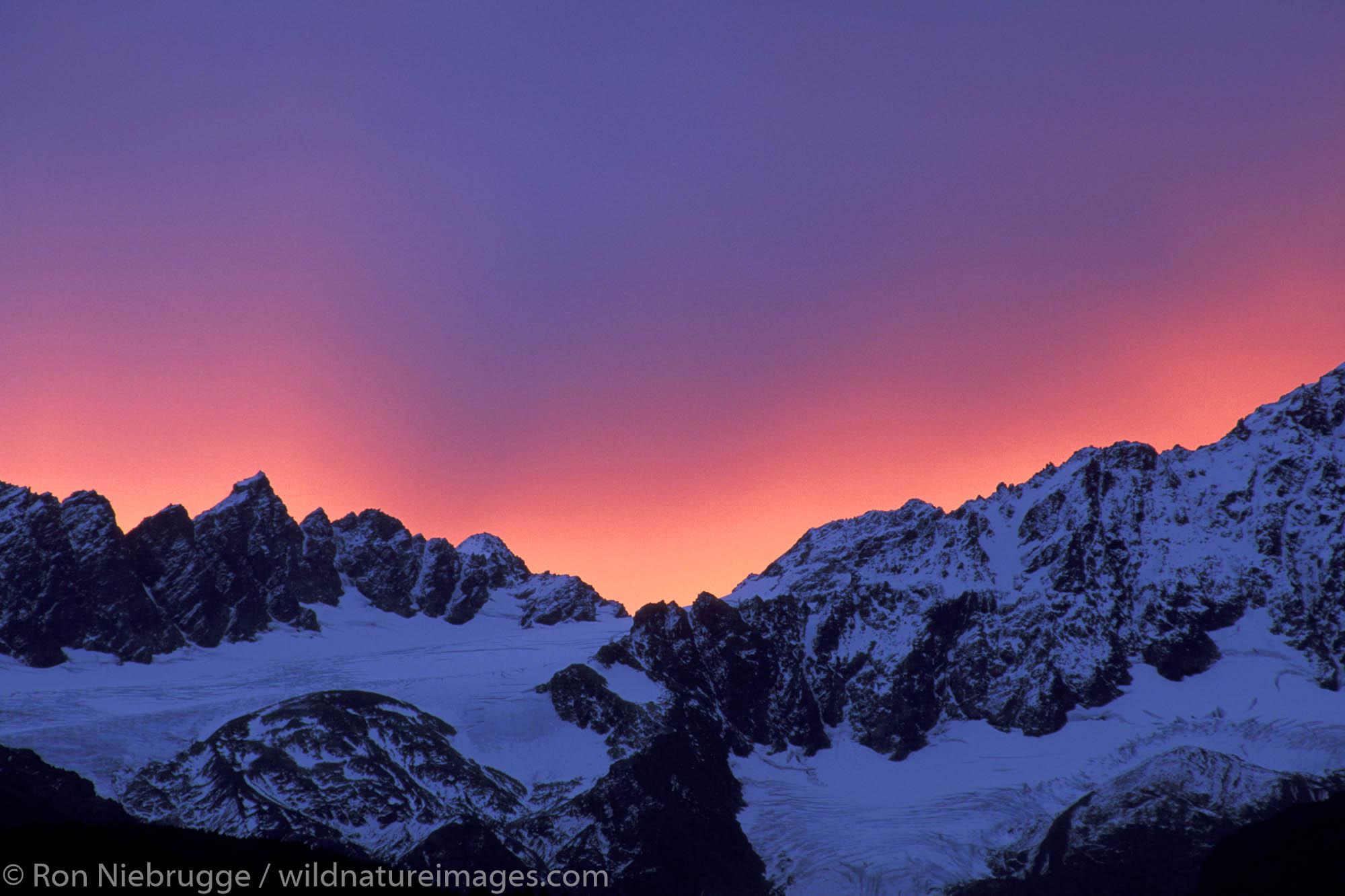 Winter Sunrise over Mt. Alice, Chugach National Forest, Seward, Alaska.
