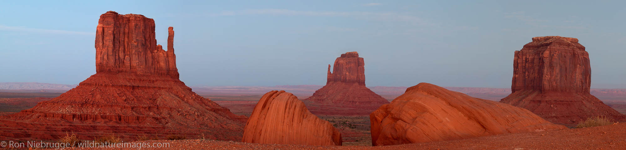 Panoramic photos of Monument Valley Navajo Tribal Park at sunset, Utah.  This image consists of five 11mp images.
