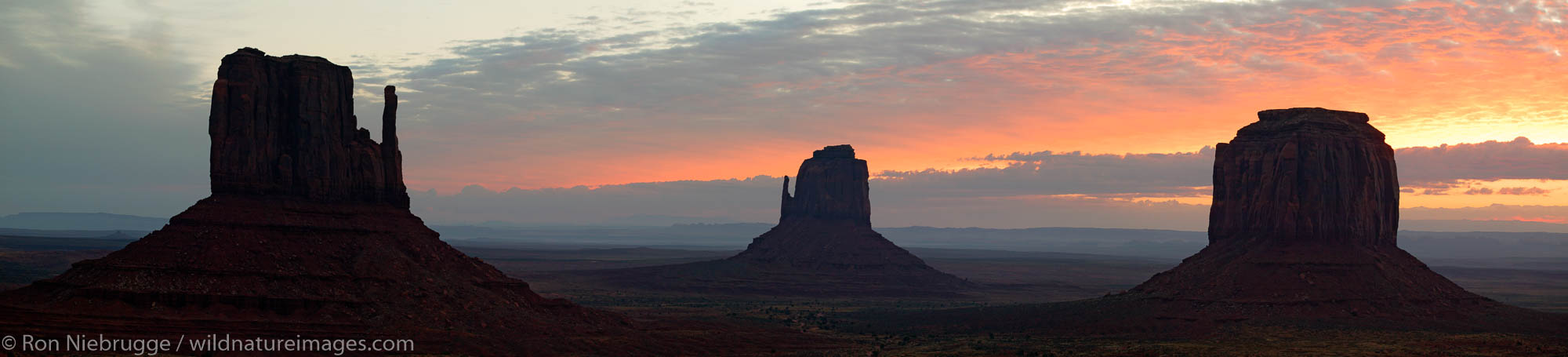 Panoramic of Monument Valley Navajo Tribal Park at sunrise, Utah.  This image consits of 5 11mp images.