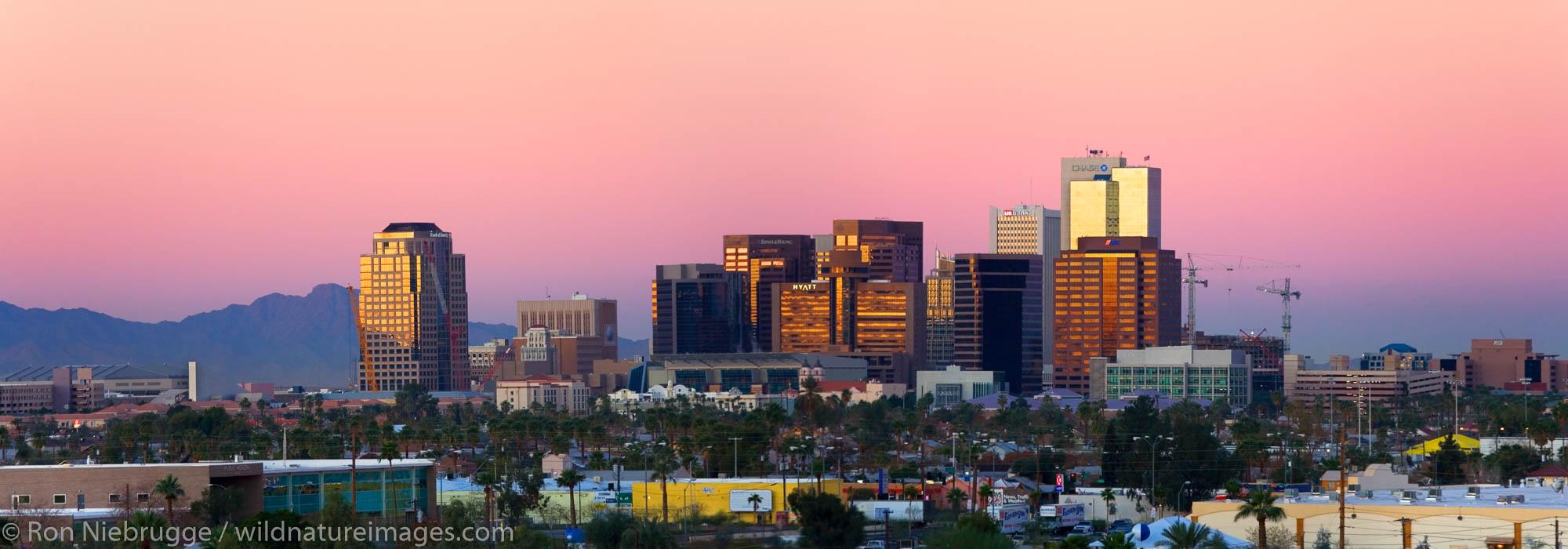Panoramic of the Phoenix skyline at sunrise, Arizona.