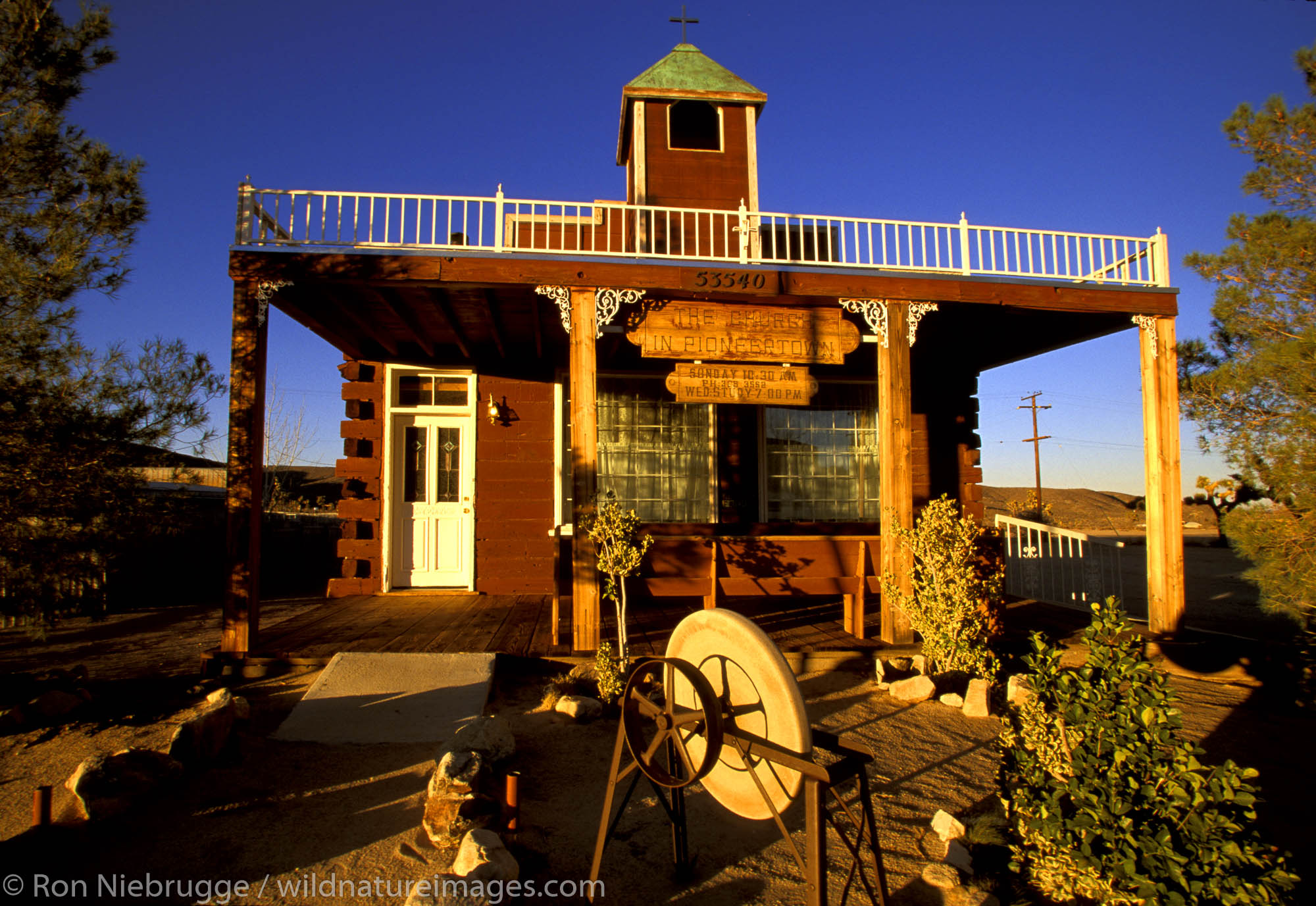The Church of Pioneertown, part of an old west movie set used for western movies.  Pioneertown, California
