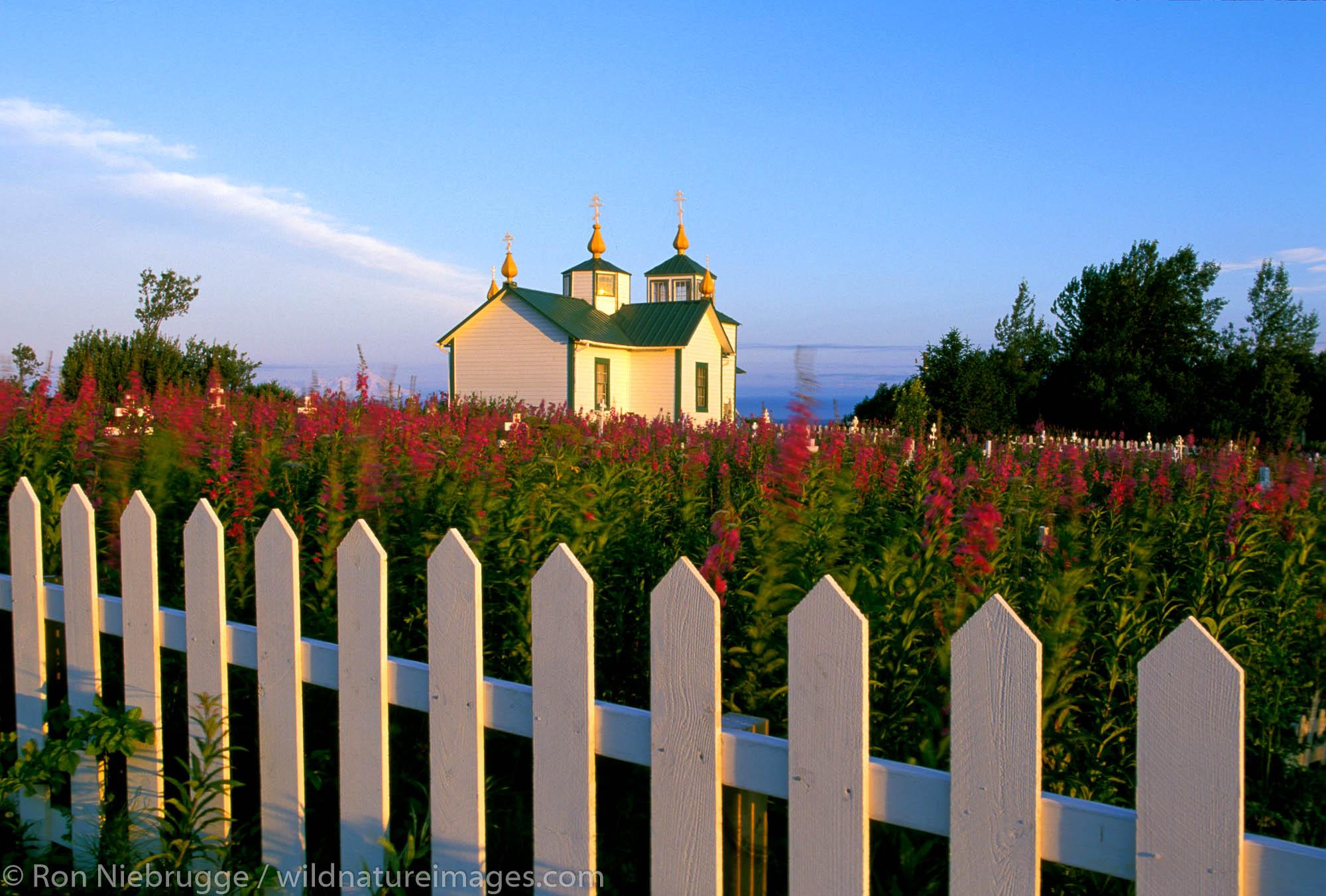 Transfiguration of Our Lord Church, cemetery, Russian Orthodox, Historical Landmark, Ninilchik, Alaska