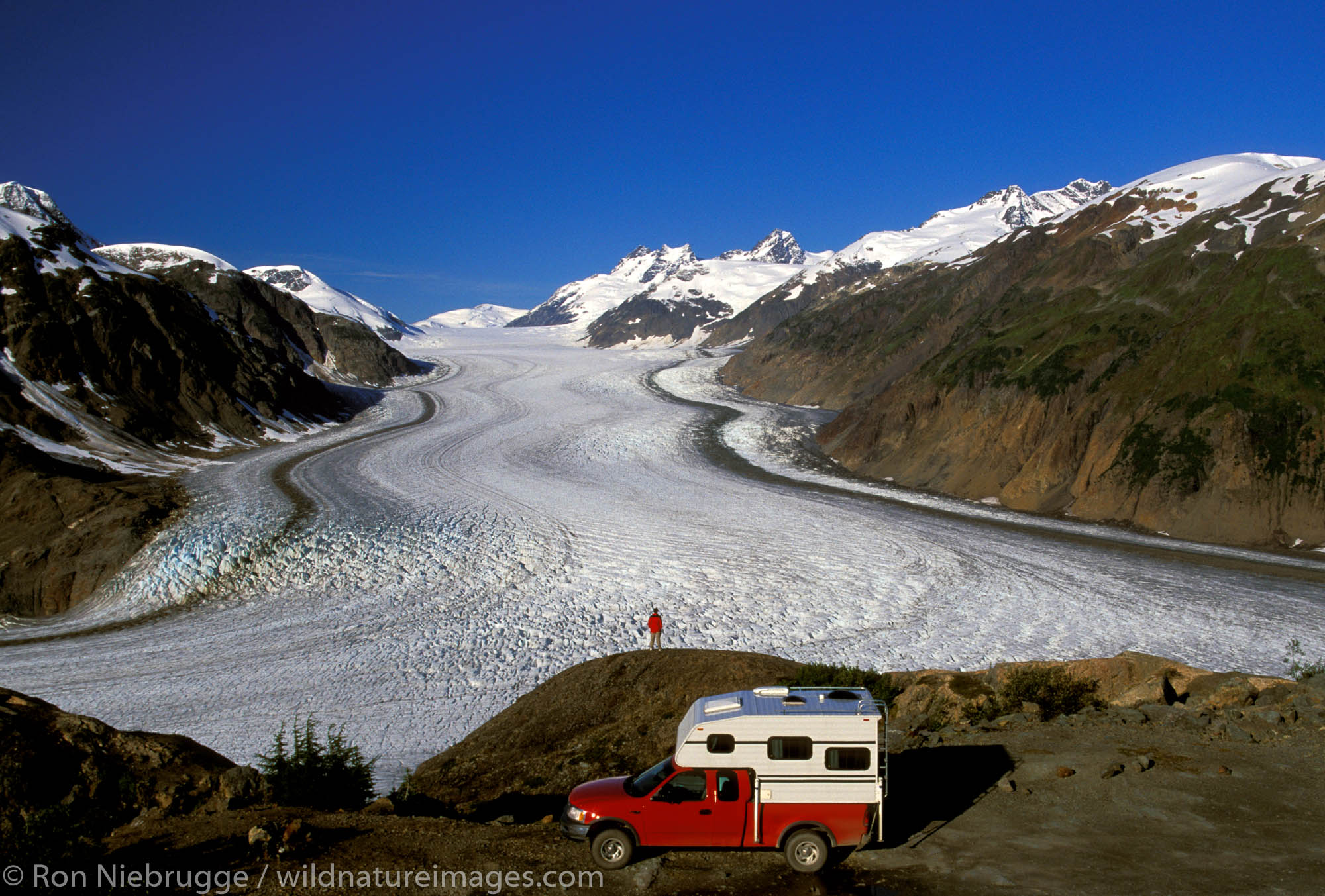 Camper at Salmon Glacier Summit and the  Alaska and British Columbia border near Hyder and Stewart.  (Model Released)