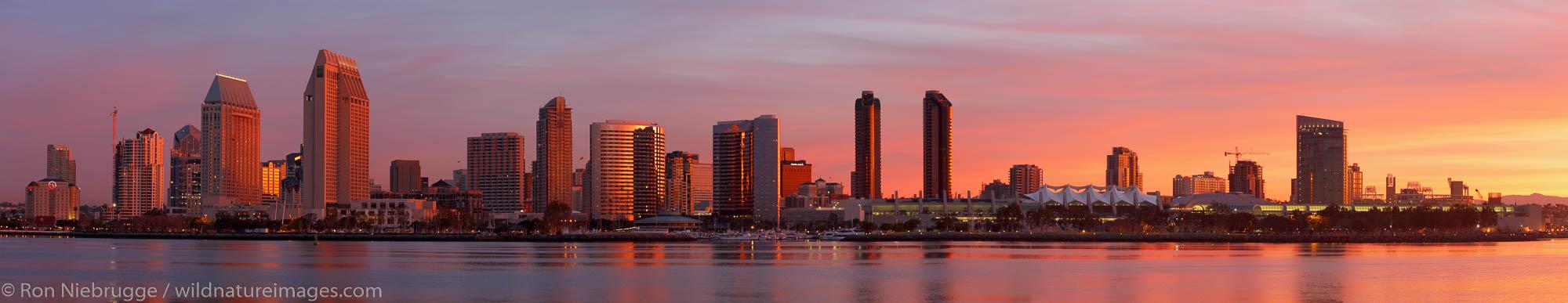 Panoramic of the San Diego skyline at surnrise, California.