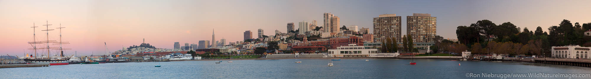 Panoramic view of the San Francisco skyline from across Aquatic Park lagoon, San Francisco, CA