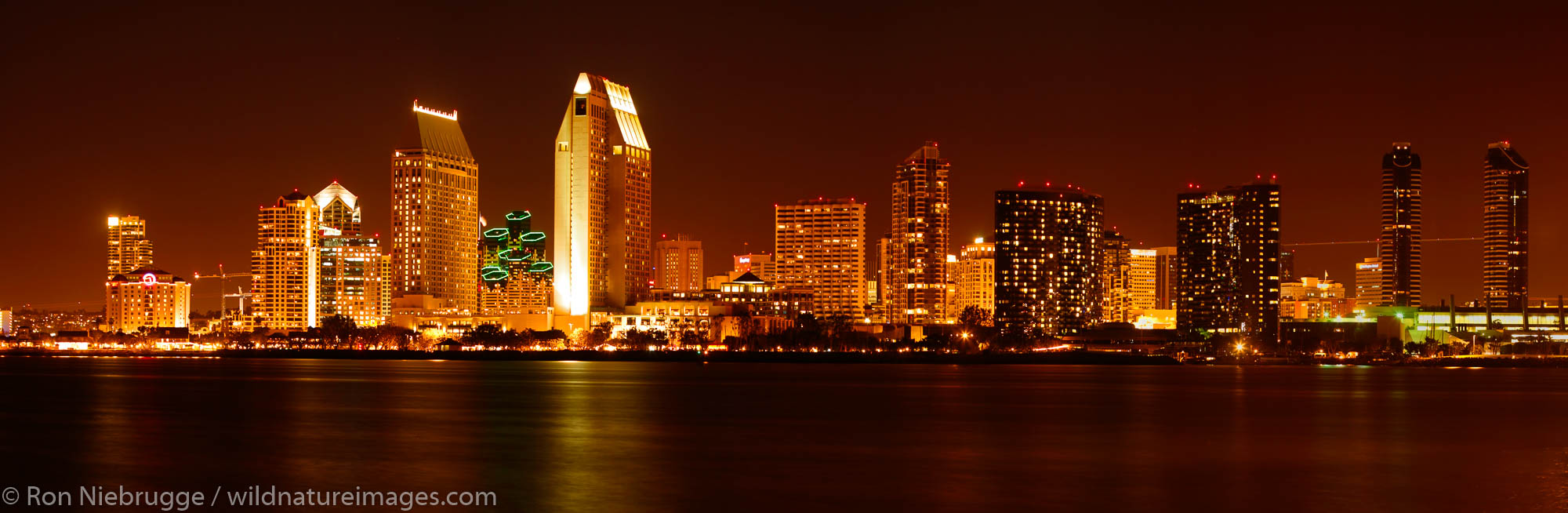 Panoramic of downtown San Diego skyline at night from Coronado Island, California.