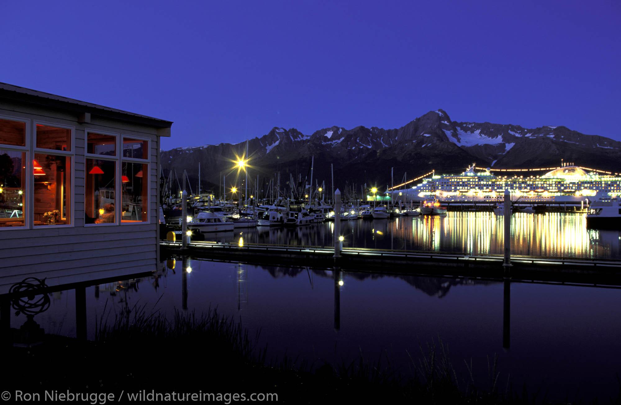 Seward Small Boat Harbor at night.  Seward, Kenai Peninsula, Alaska.