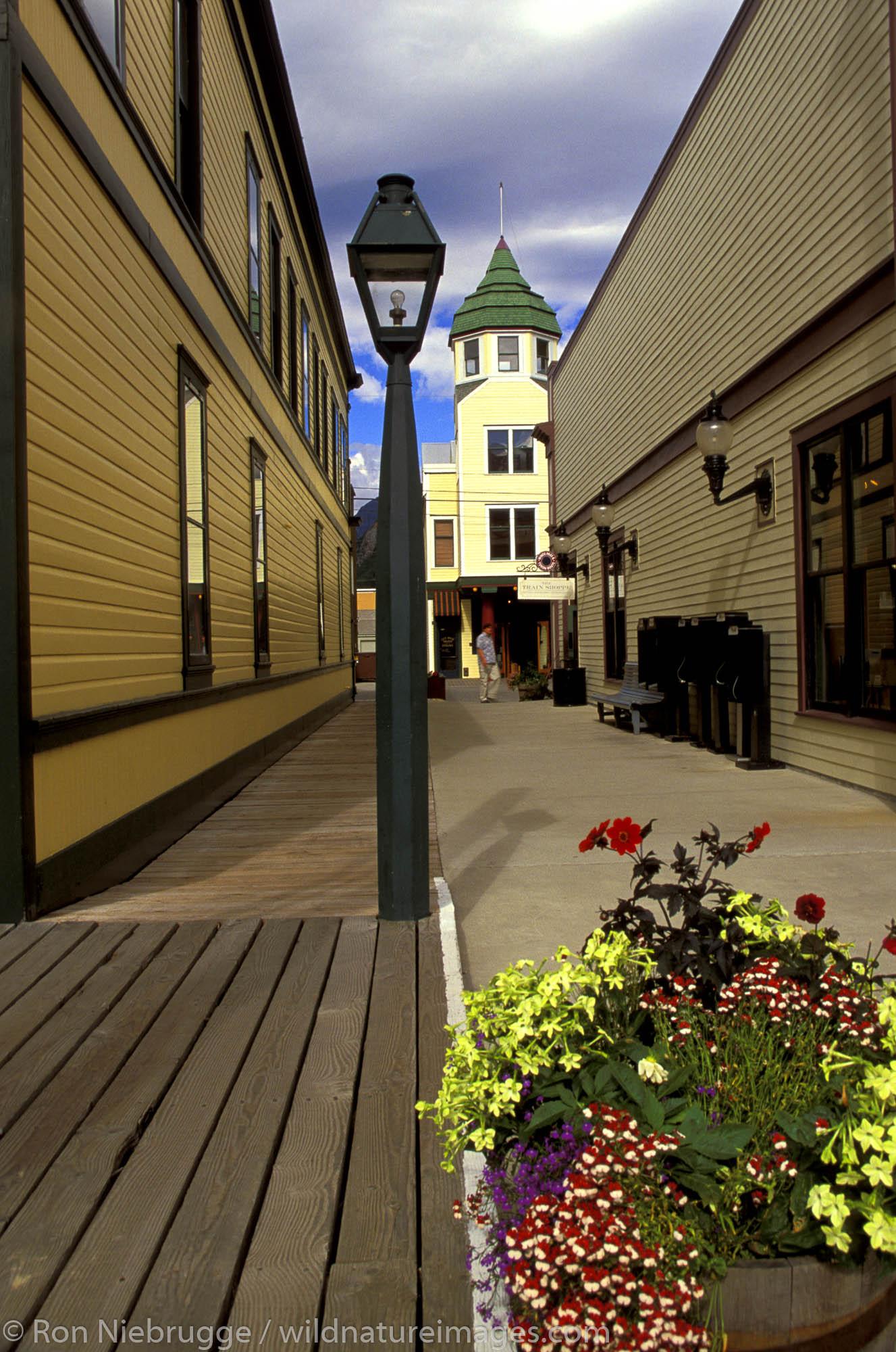 Old restored buildings in the town of Skagway, Alaska.