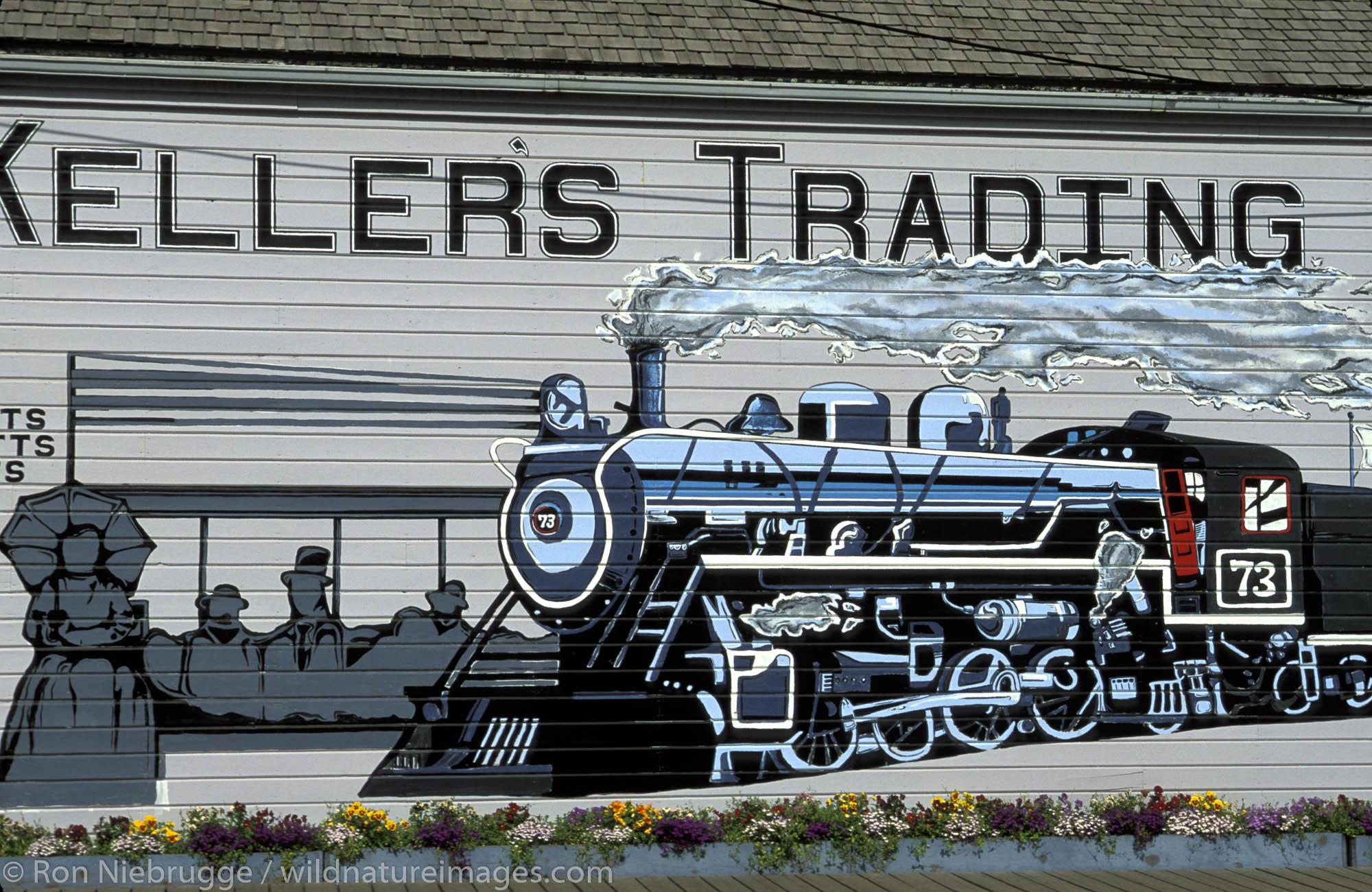 Old restored buildings (Keller's Trading) in the town of Skagway, Alaska.