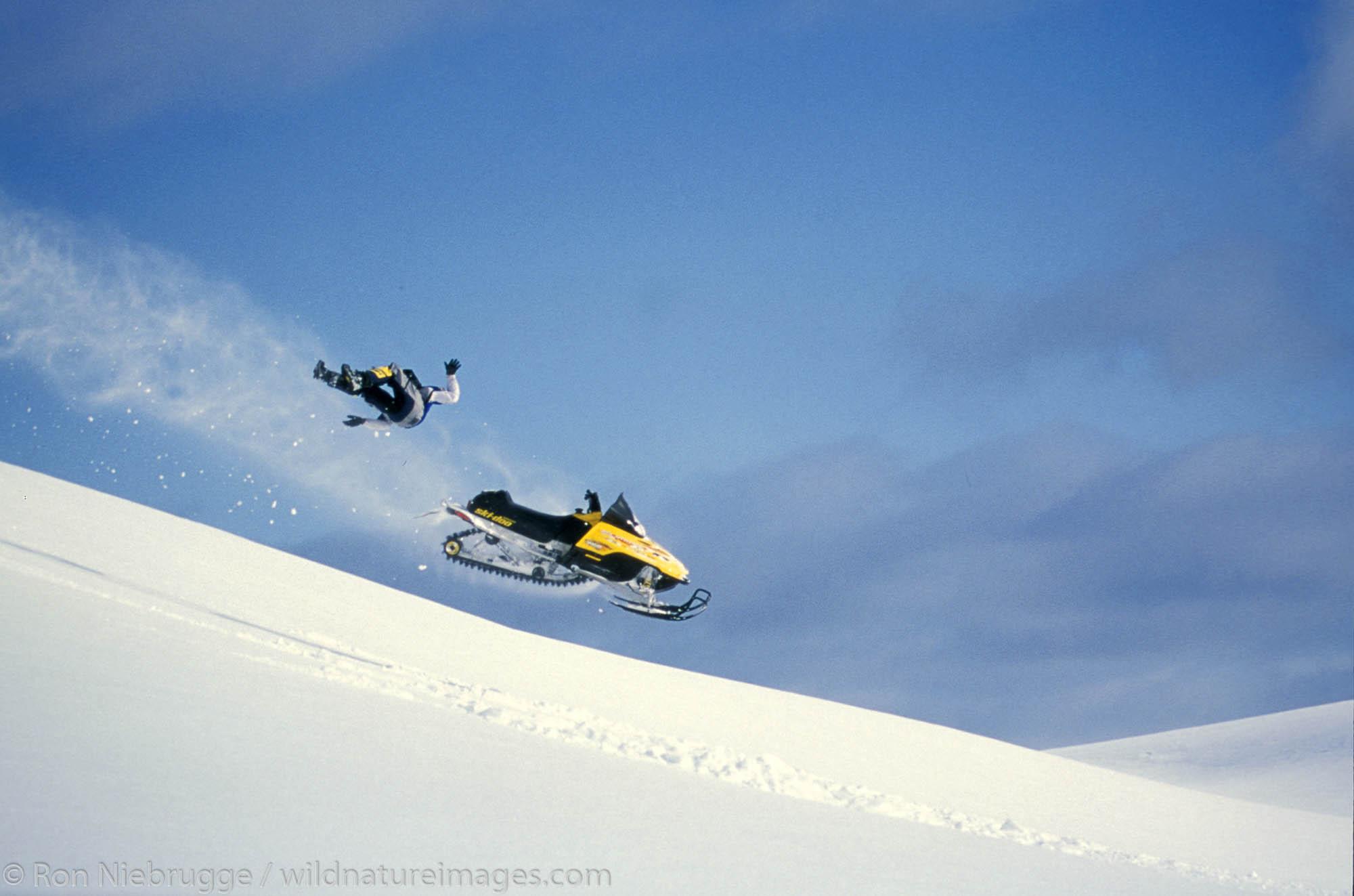 Snowmoble riding, Lost Lake, Chugach National Forest, Alaska.  MR/PR