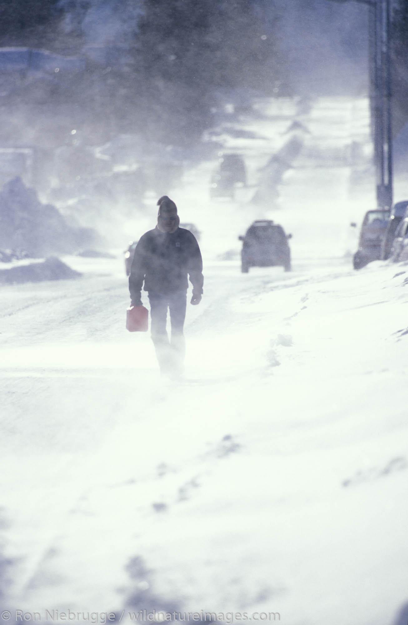 Man carrying a fuel can in a winter storm, Seward, Alaska.