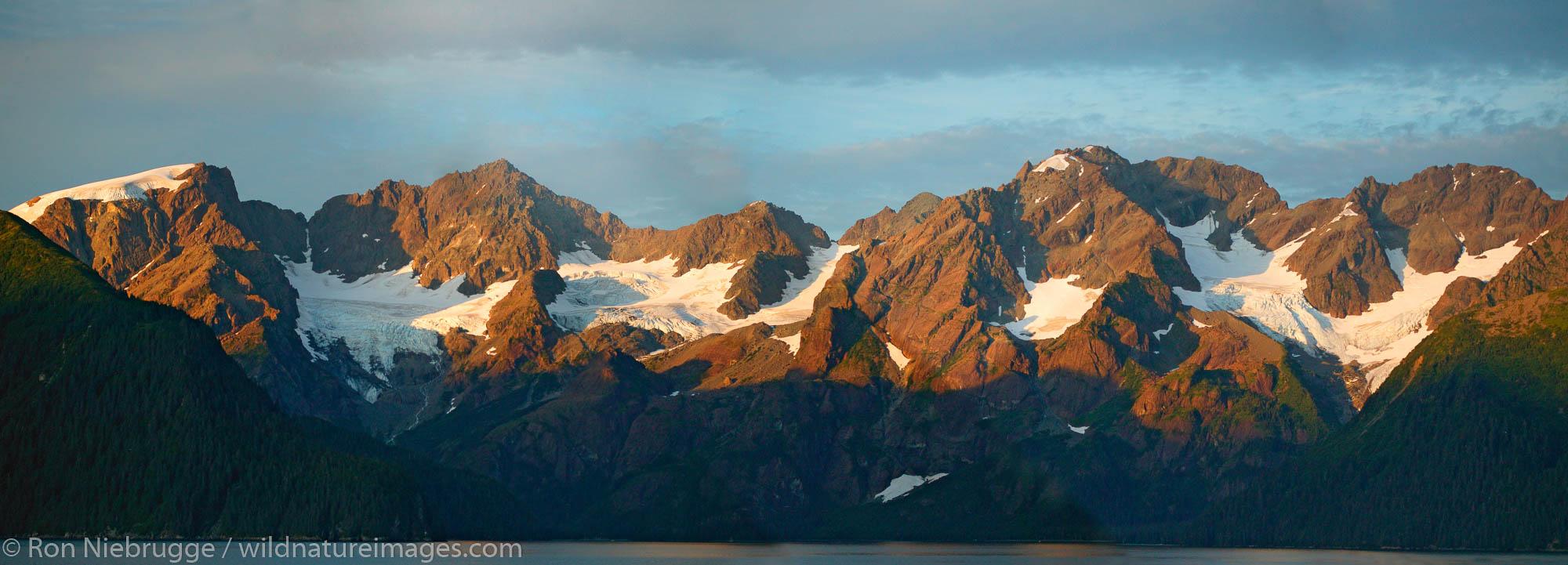 A panoramic photo of Thumbs Cove Resurrection Bay Chugach National Forest Alaska.