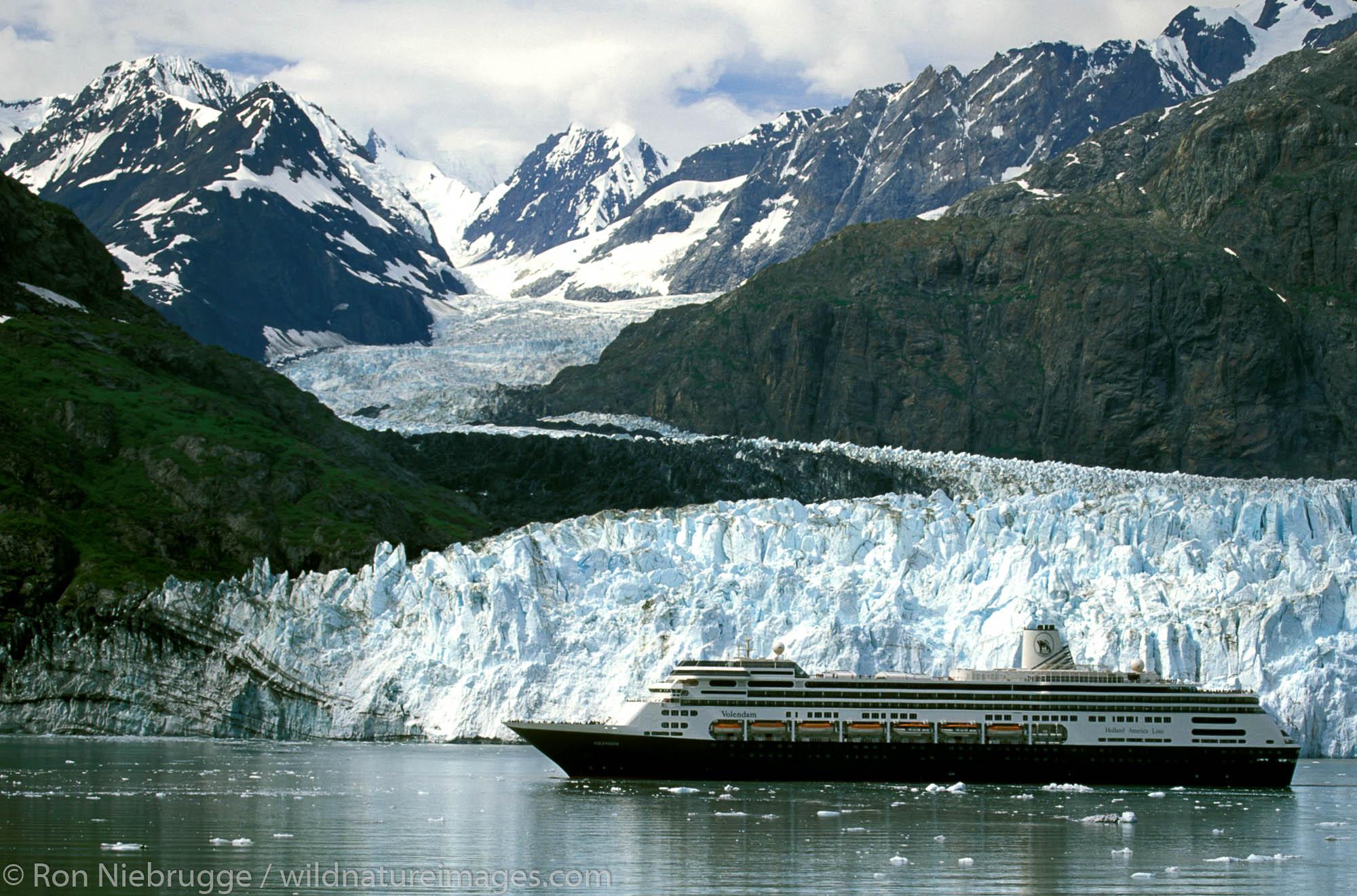 Holland America Cruise Line.  Volendam in front of Margerie Glacier.  Glacier Bay National Park. Alaska.