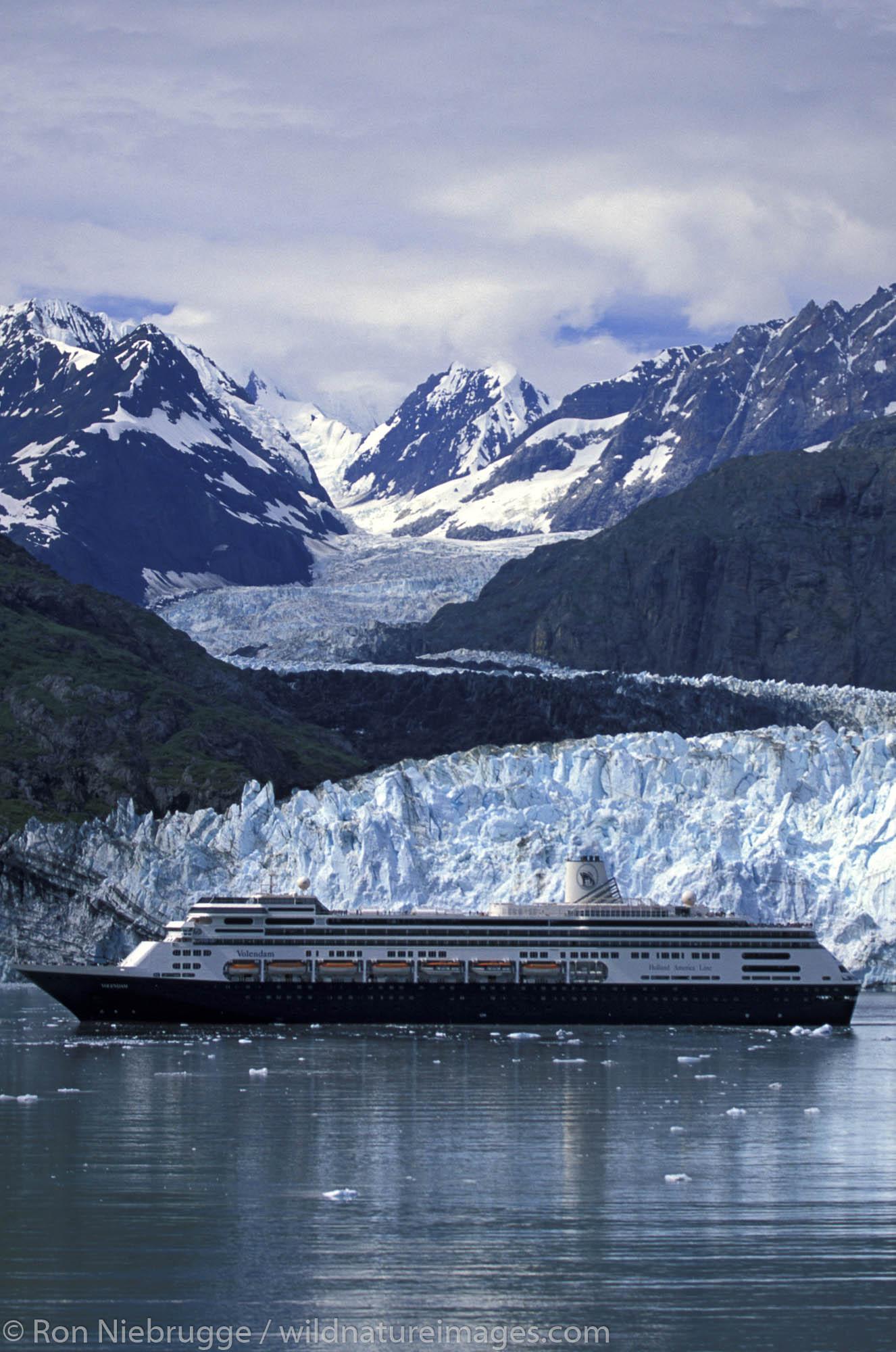 Holland America Cruise Ship Volendam at Margerie Glacier in Glacier Bay National Park, Alaska.