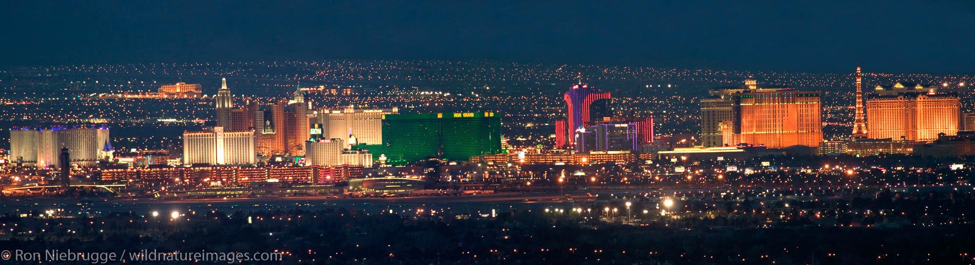 Panoramic of Las Vegas Strip at night.  Las Vegas, Nevada.